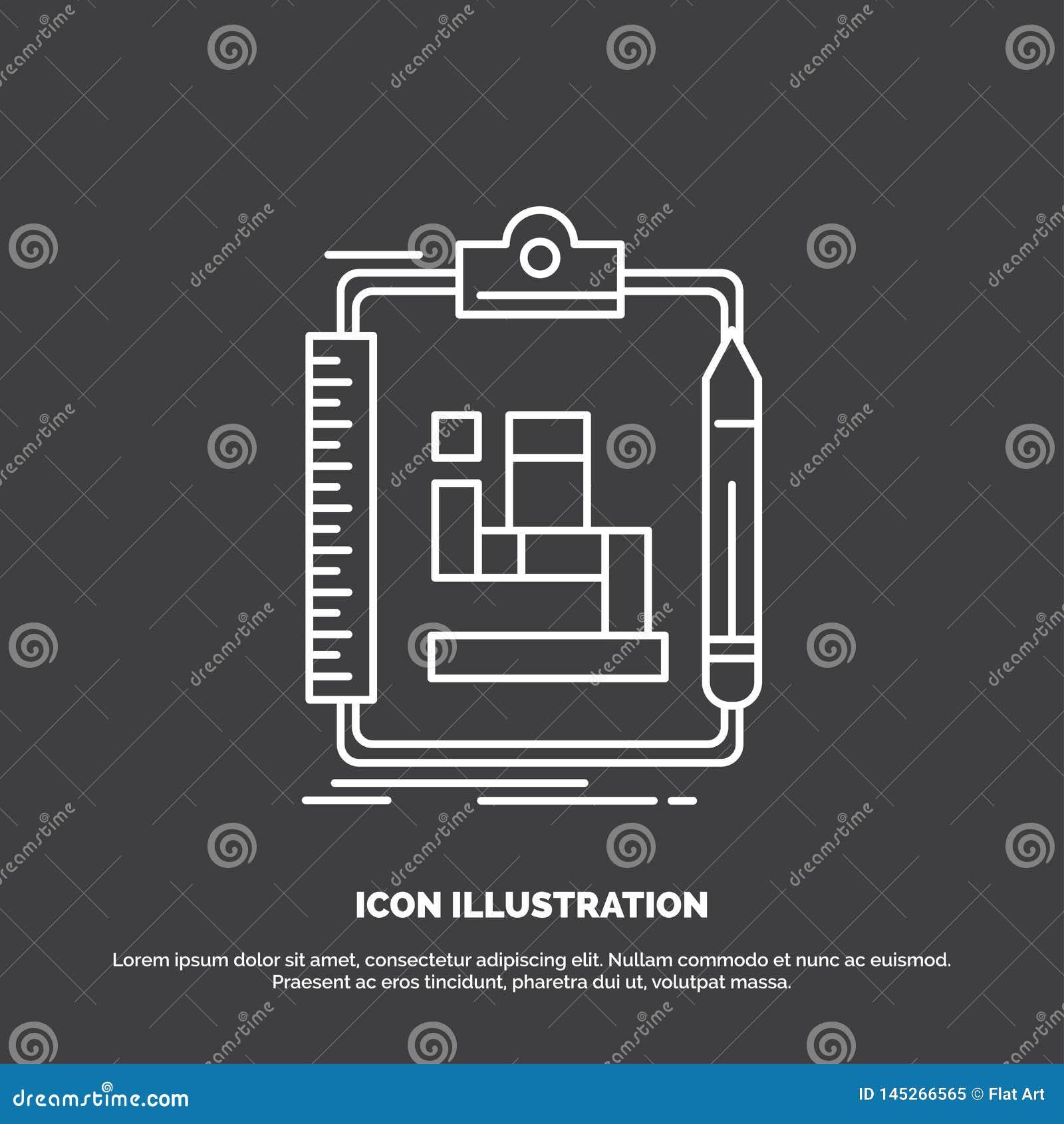 Algorytm, proces, plan, praca, obieg ikona Kreskowy wektorowy symbol dla UI, UX, strona internetowa i wisz?cej ozdoby zastosowani