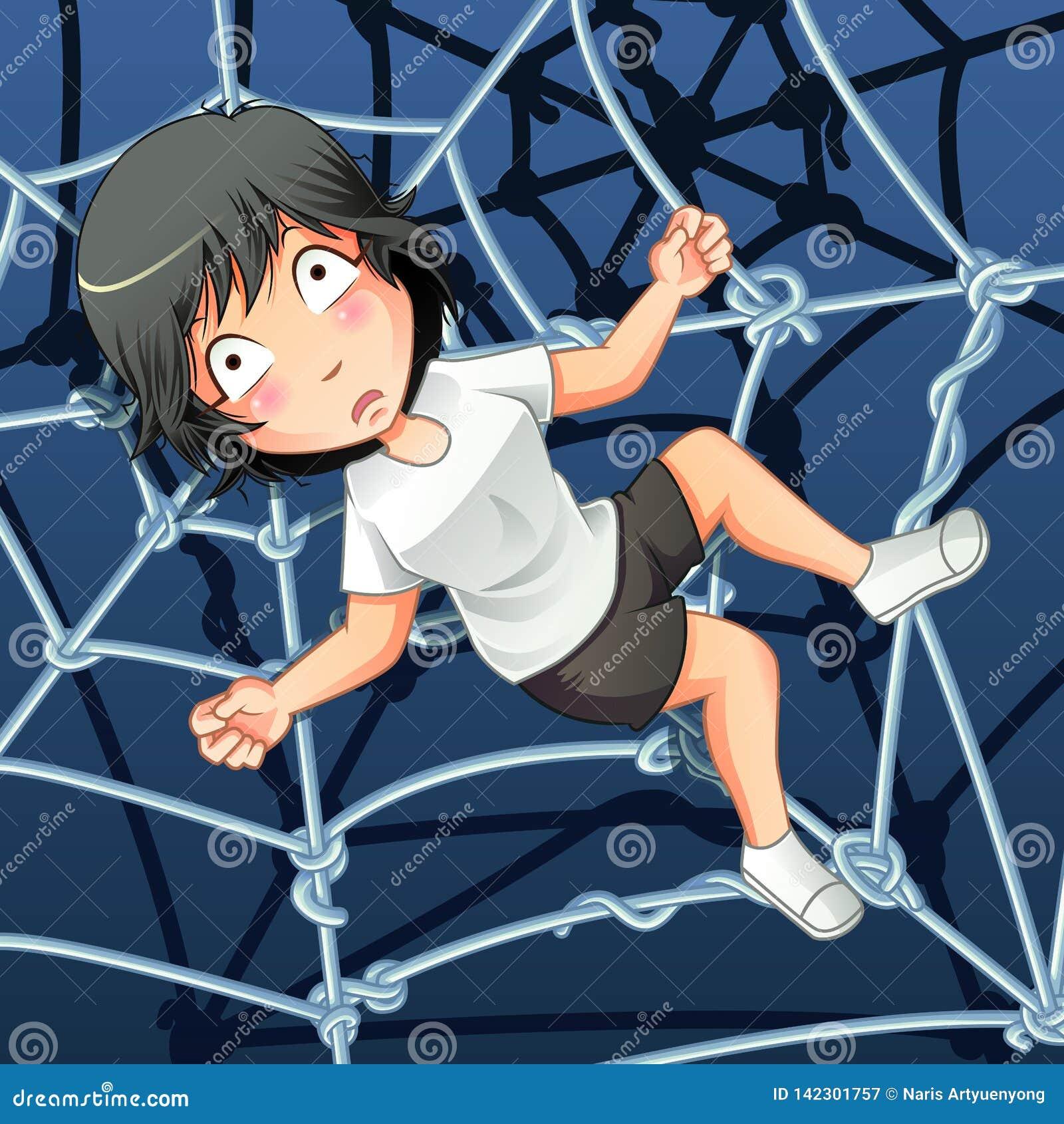 Alguém é prendido em uma rede da aranha