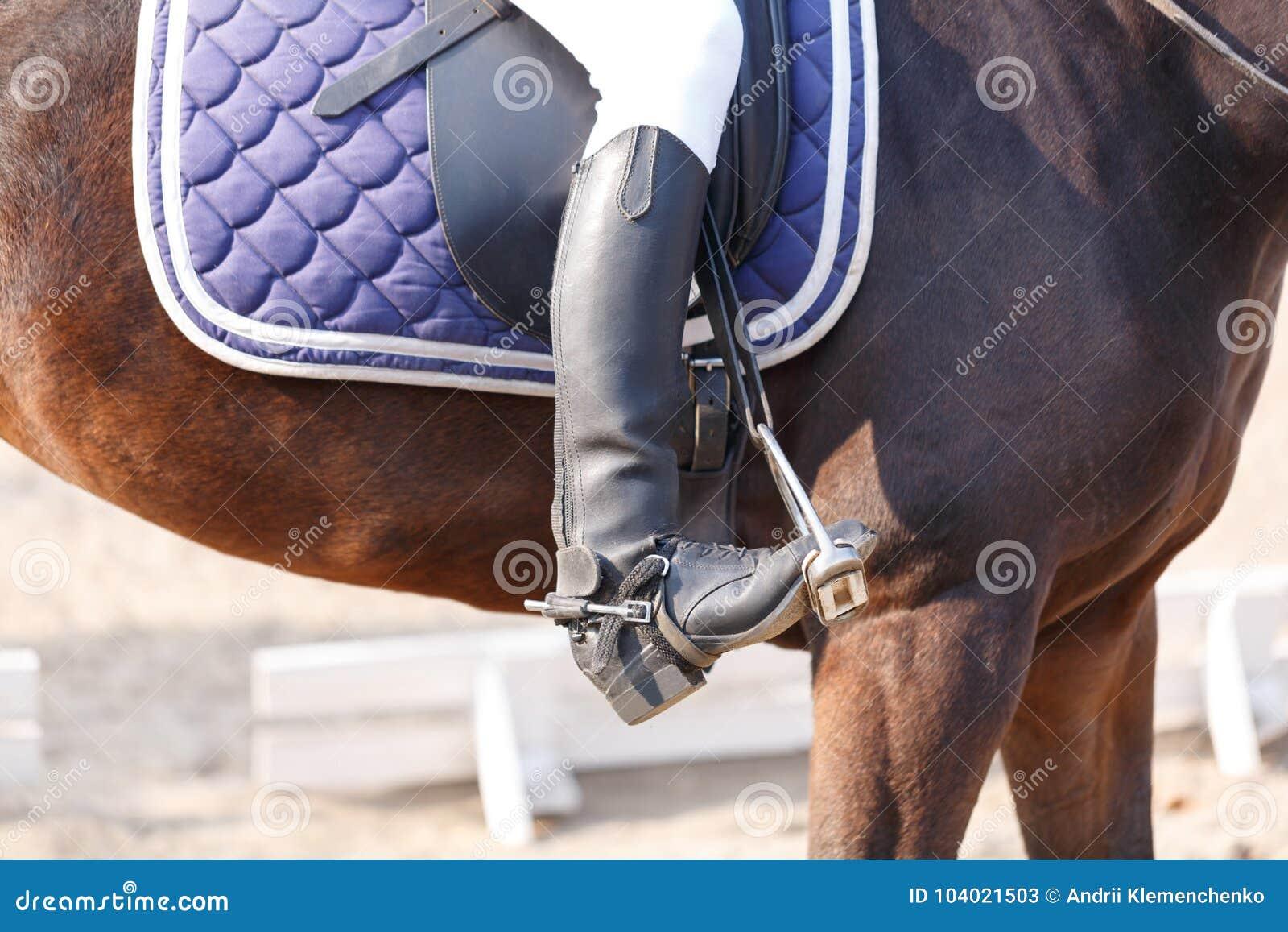 Alguém em botas de equitação pretas senta-se em uma surpresa outdoors