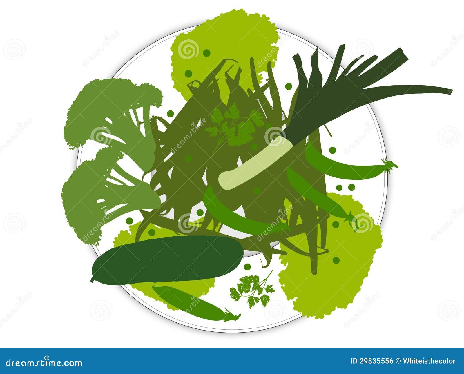 Placa com os legumes frescos verdes