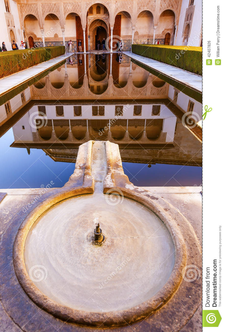 Alhambra Courtyard Myrtles Fountain Pool Granada Andalusia