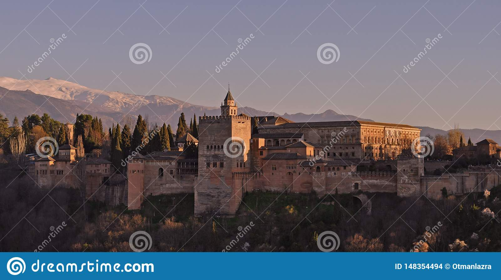 Alhambra fortress sunset in Granada of Spain