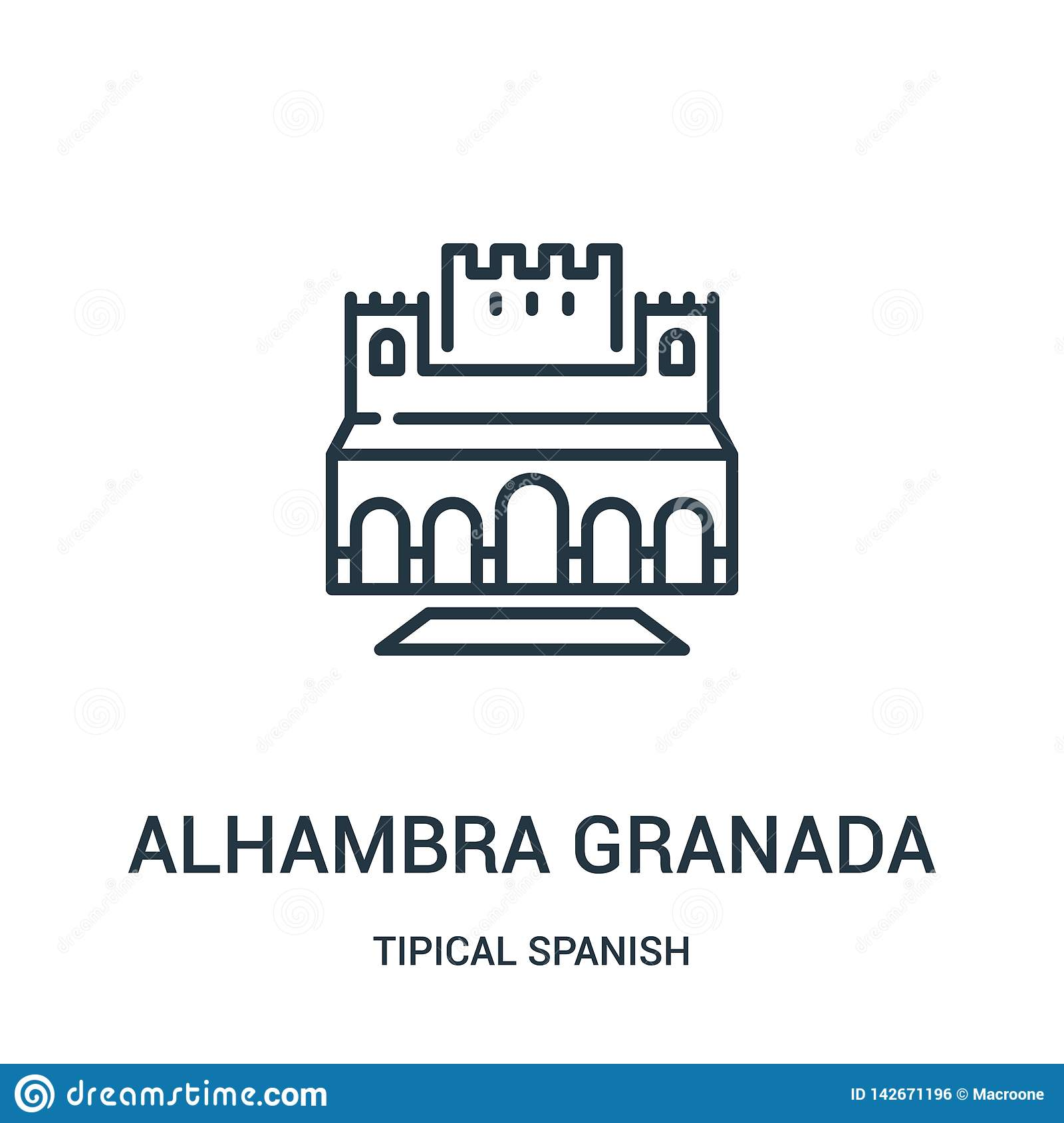 alhambra granada icon vector from tipical spanish collection. Thin line alhambra granada outline icon vector illustration. Linear