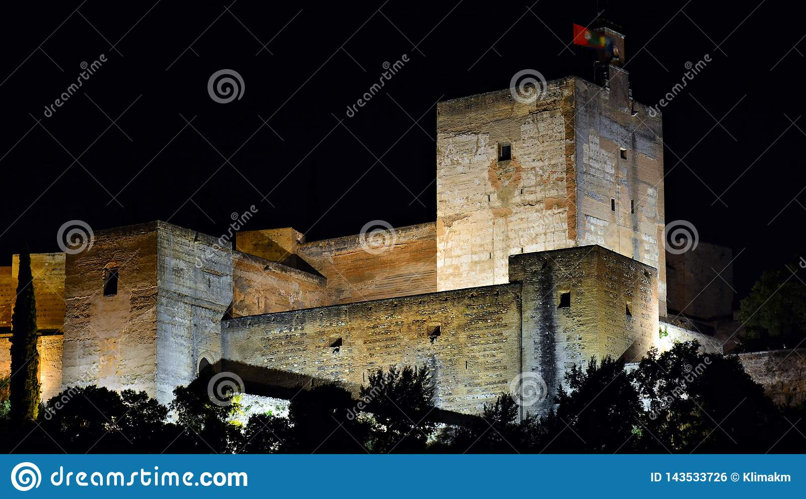 The Alhambra of Granada, night