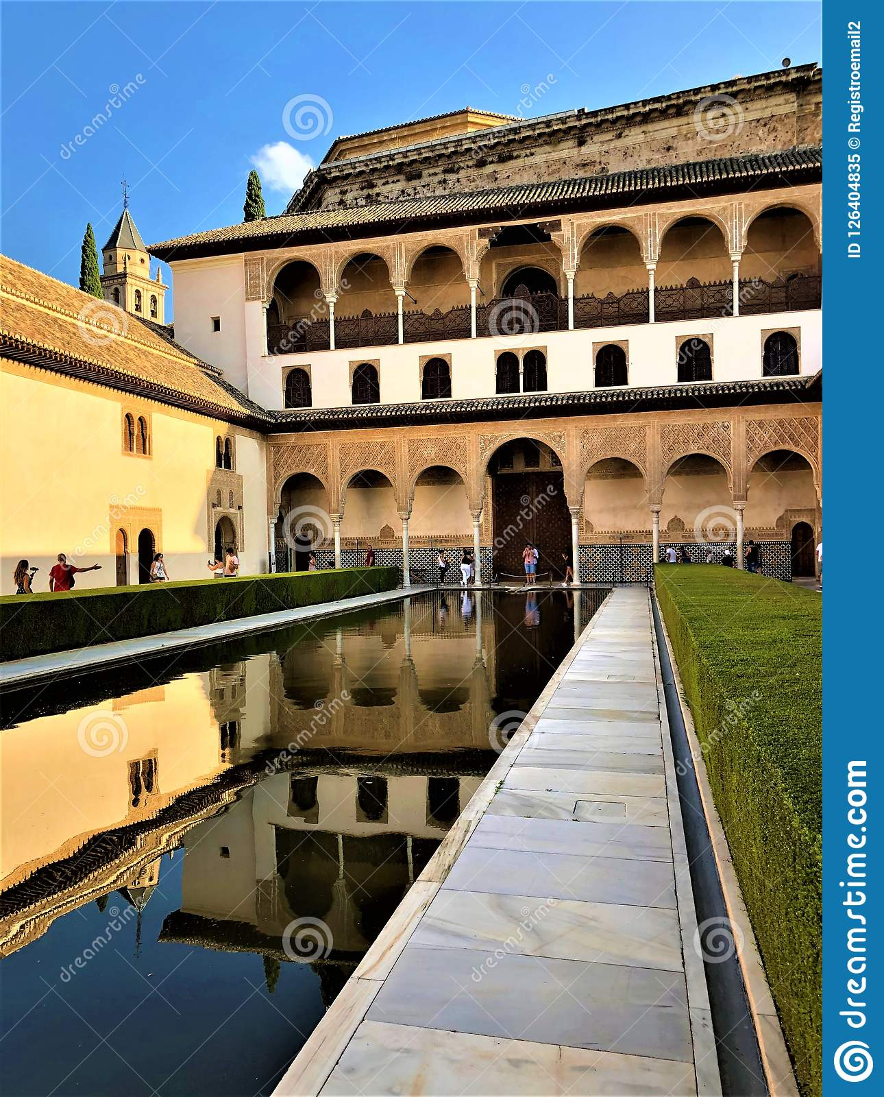 Alhambra in Granada, palace, garden and water