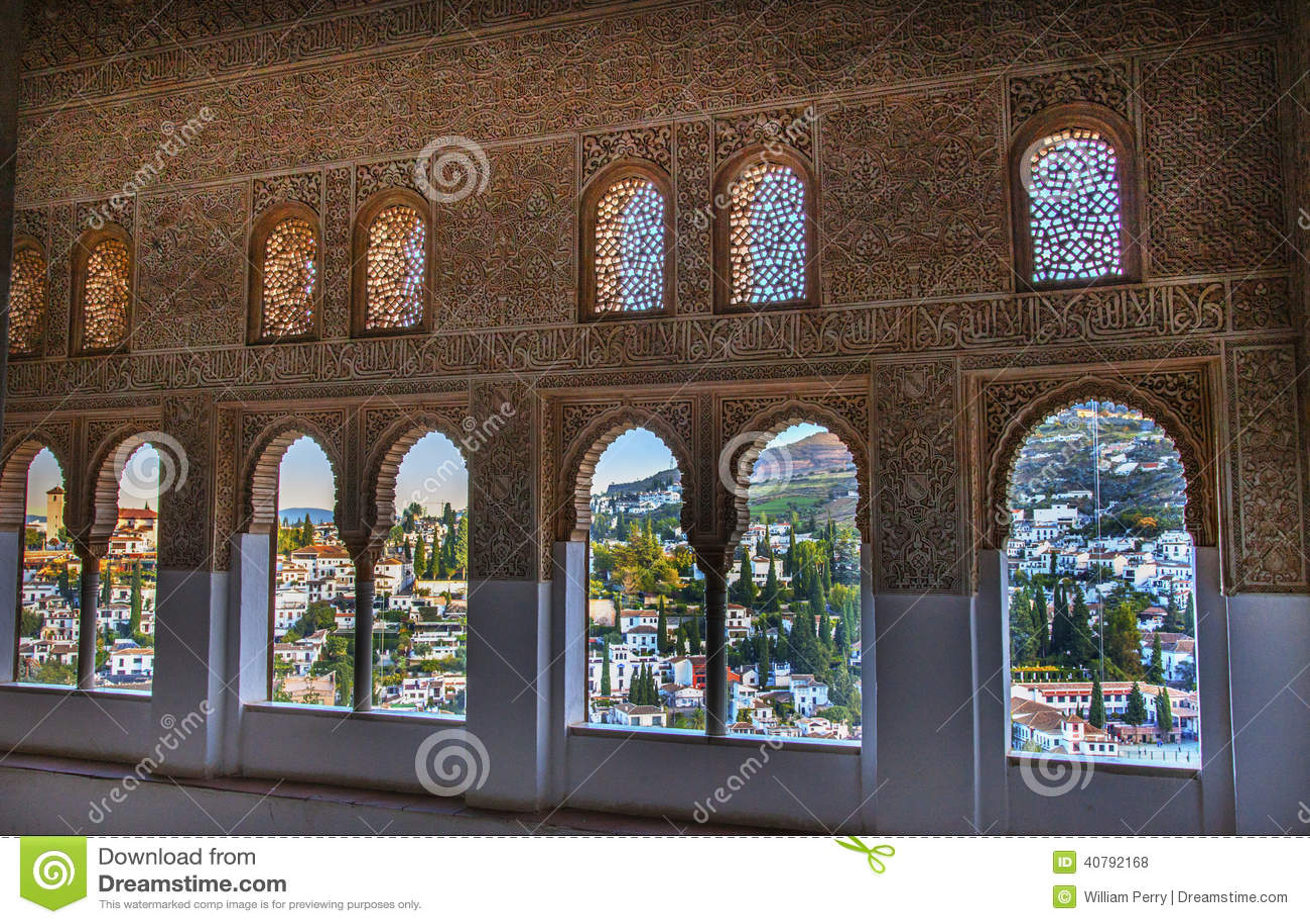 Alhambra Moorish Wall Designs City sikt Granada Andalusia Spanien