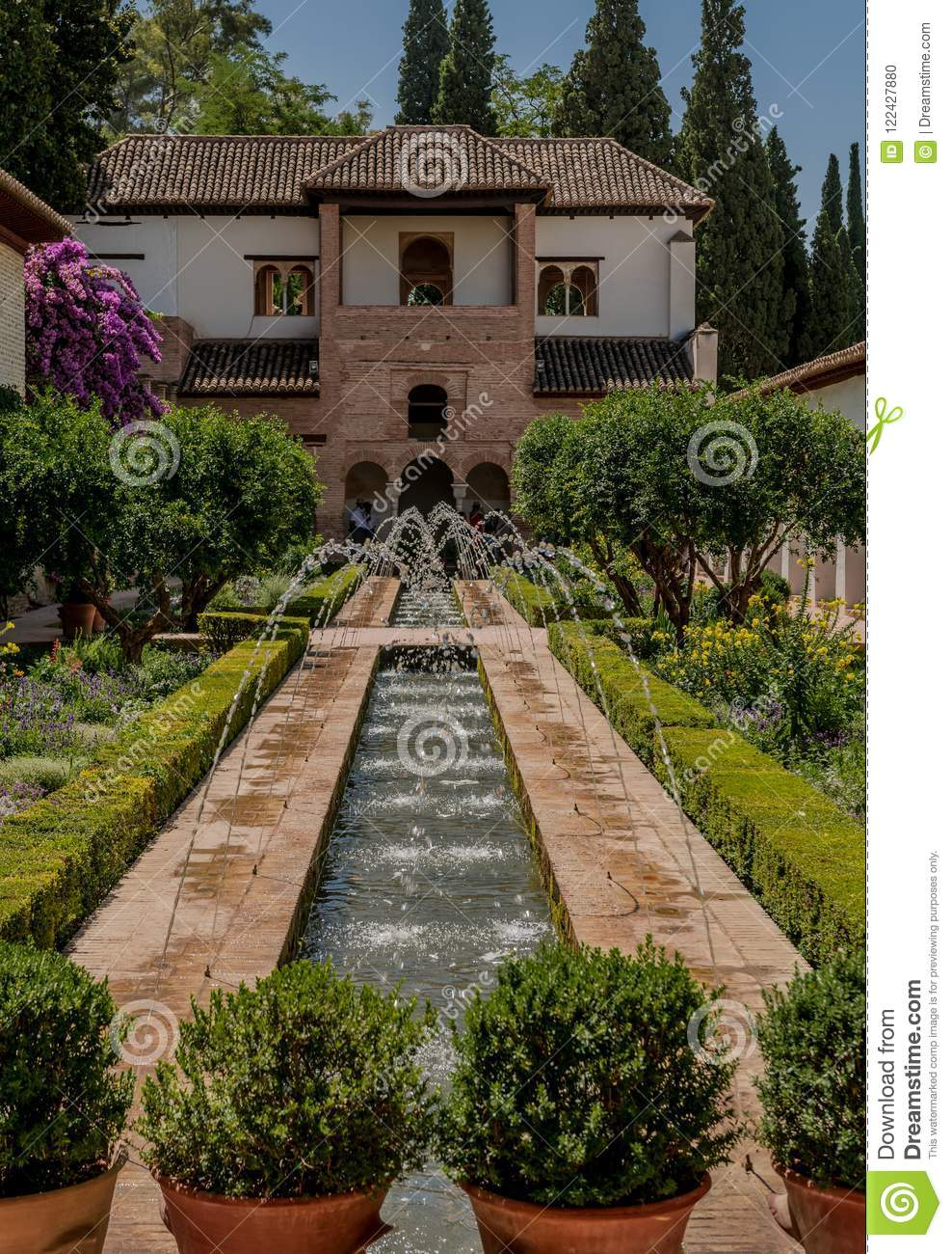 Alhambra Palace Garden In Granada, Spain Stock Photo - Image of ...