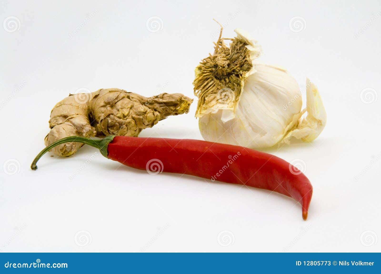 Alho e pimentão do gengibre
