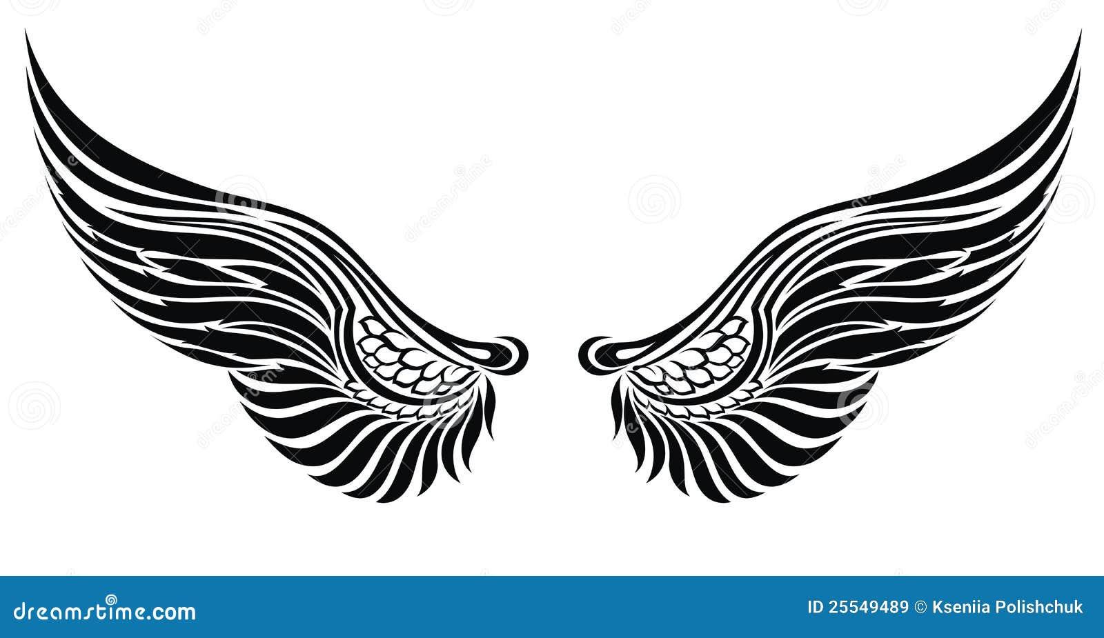 Ali Di Angelo Isolate Su Bianco Disegno Del Tatuaggio Illustrazione
