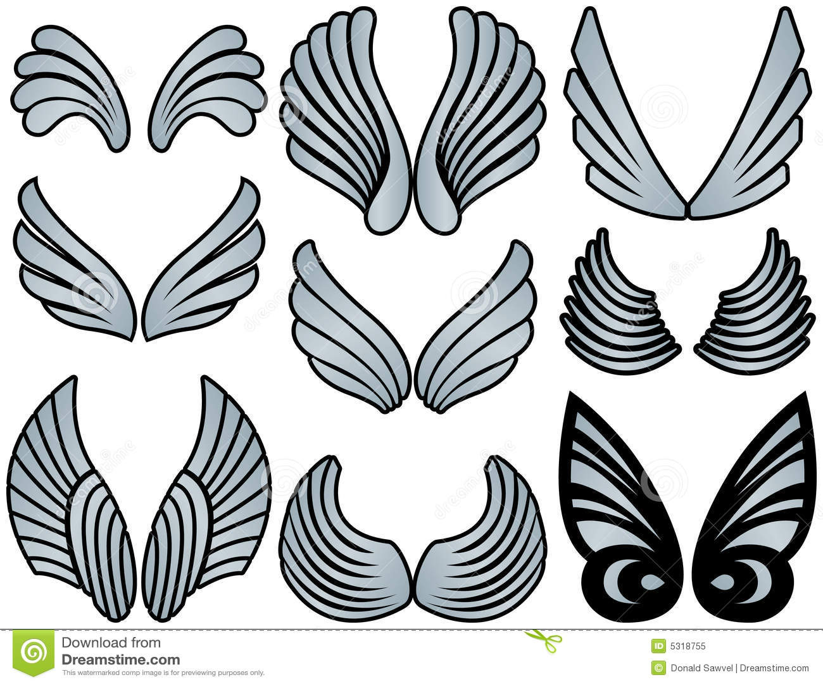 Download Ali stilizzate di angelo illustrazione vettoriale. Illustrazione di feathered - 5318755