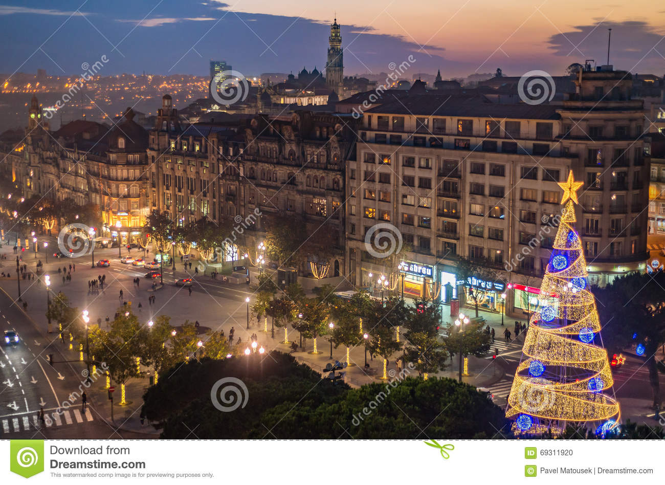 Aerial view of Aliados / Liberdade Square and Clerigos Tower town of Porto. Sunset view with winter Christmas tree, Lisbon