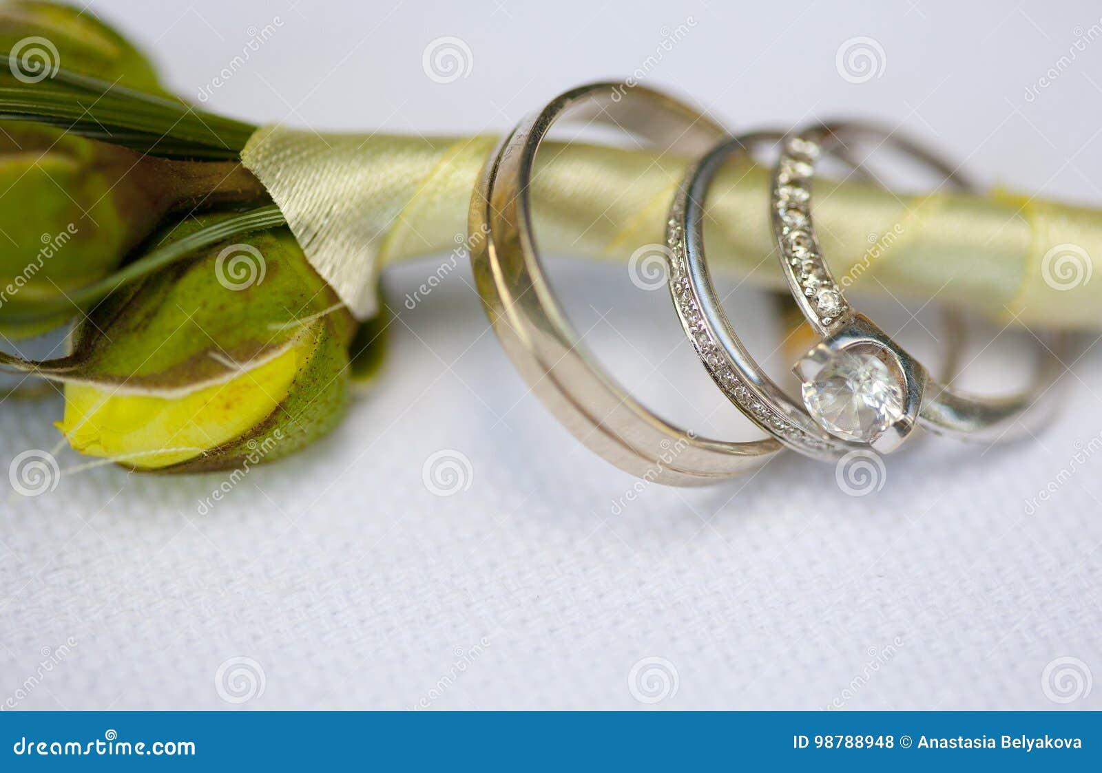 Alianças de casamento e anel de noivado de prata com o diamante oferecido  no boutonniere do noivo com fita de seda c3b97fefdc87a