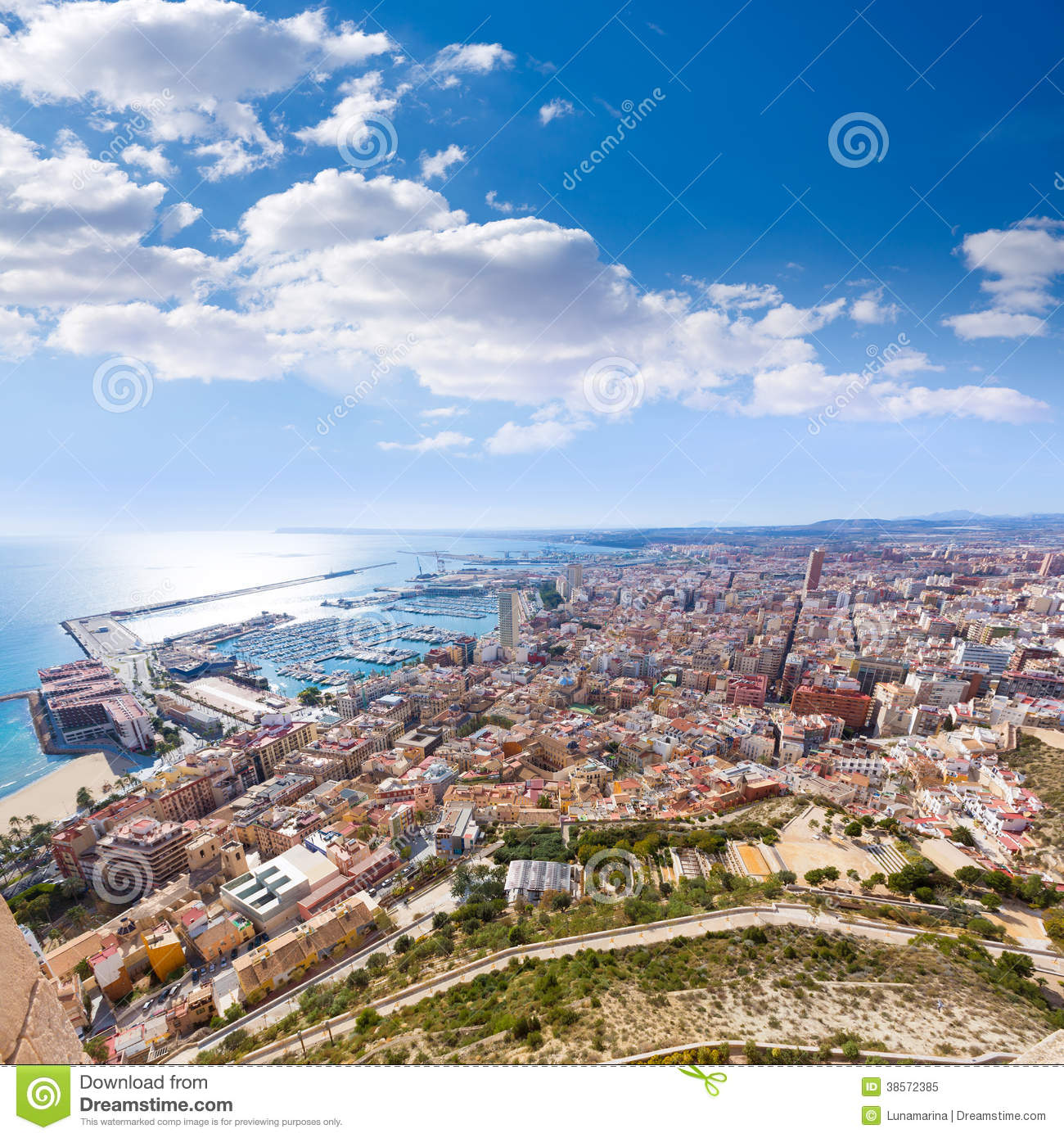 Alicante skyline aerial from santa barbara castle royalty - Stock uno alicante ...