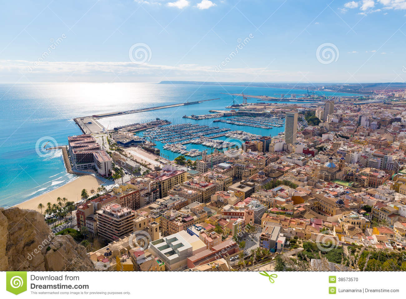 Alicante skyline aerial from santa barbara castle stock - Stock uno alicante ...