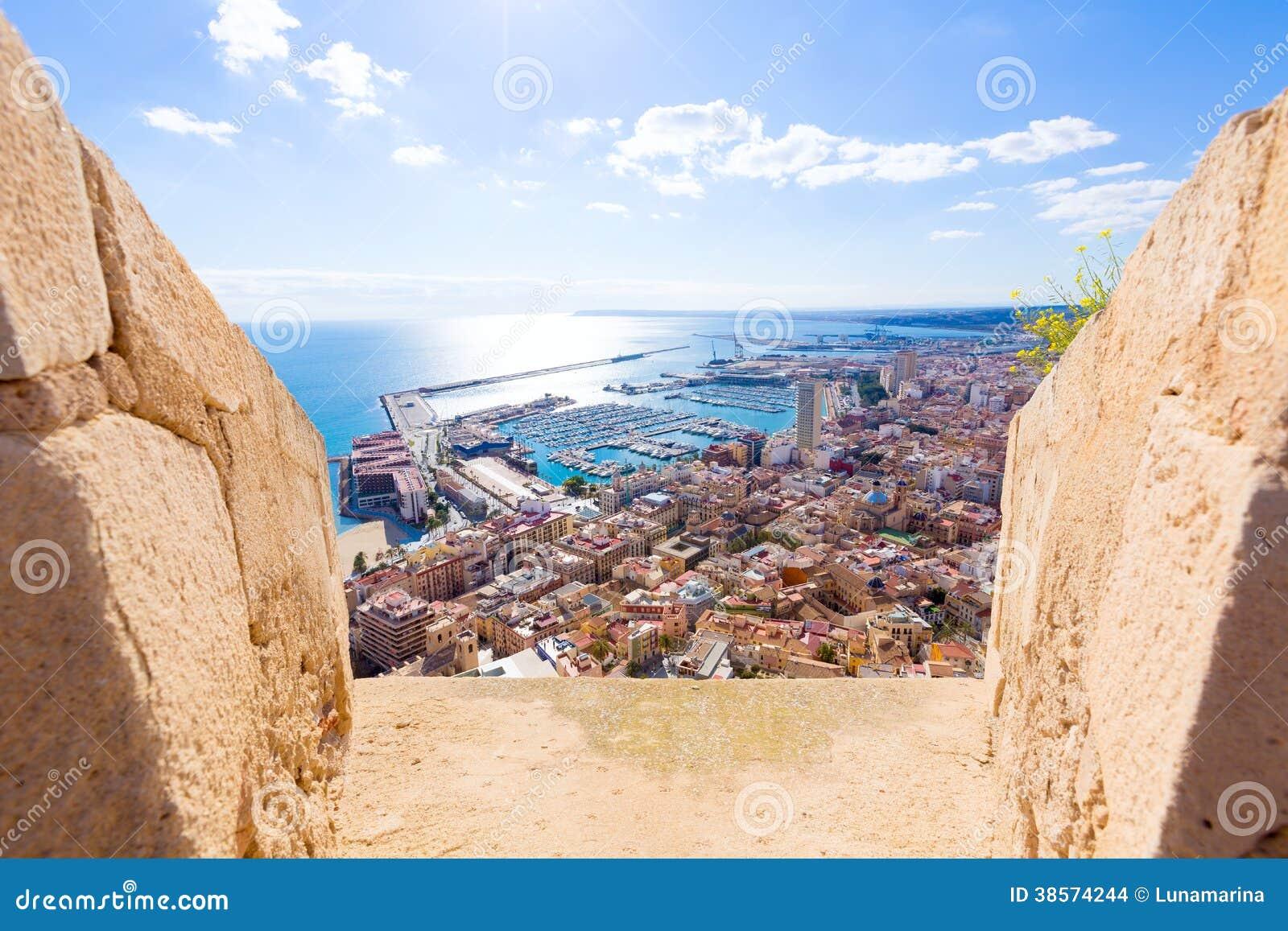 Alicante skyline santa barbara castle spain stock images image 38574244 - Stock uno alicante ...