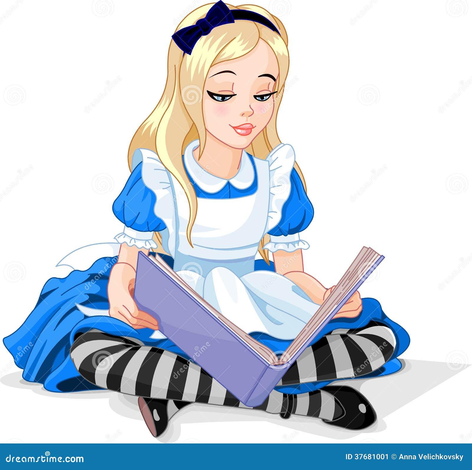 Alice, die ein Buch liest