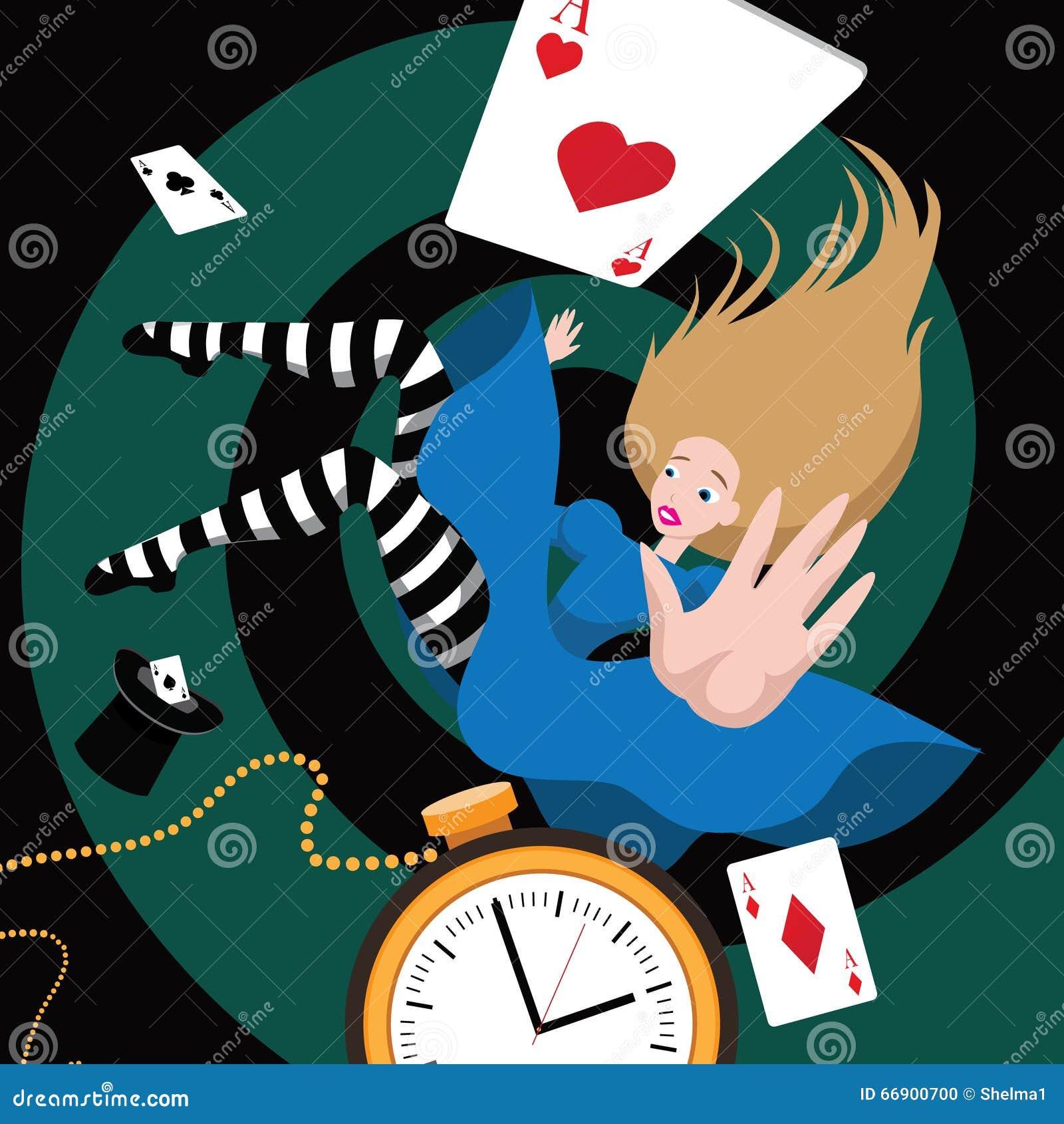 Alice falls down the rabbit hole Stock