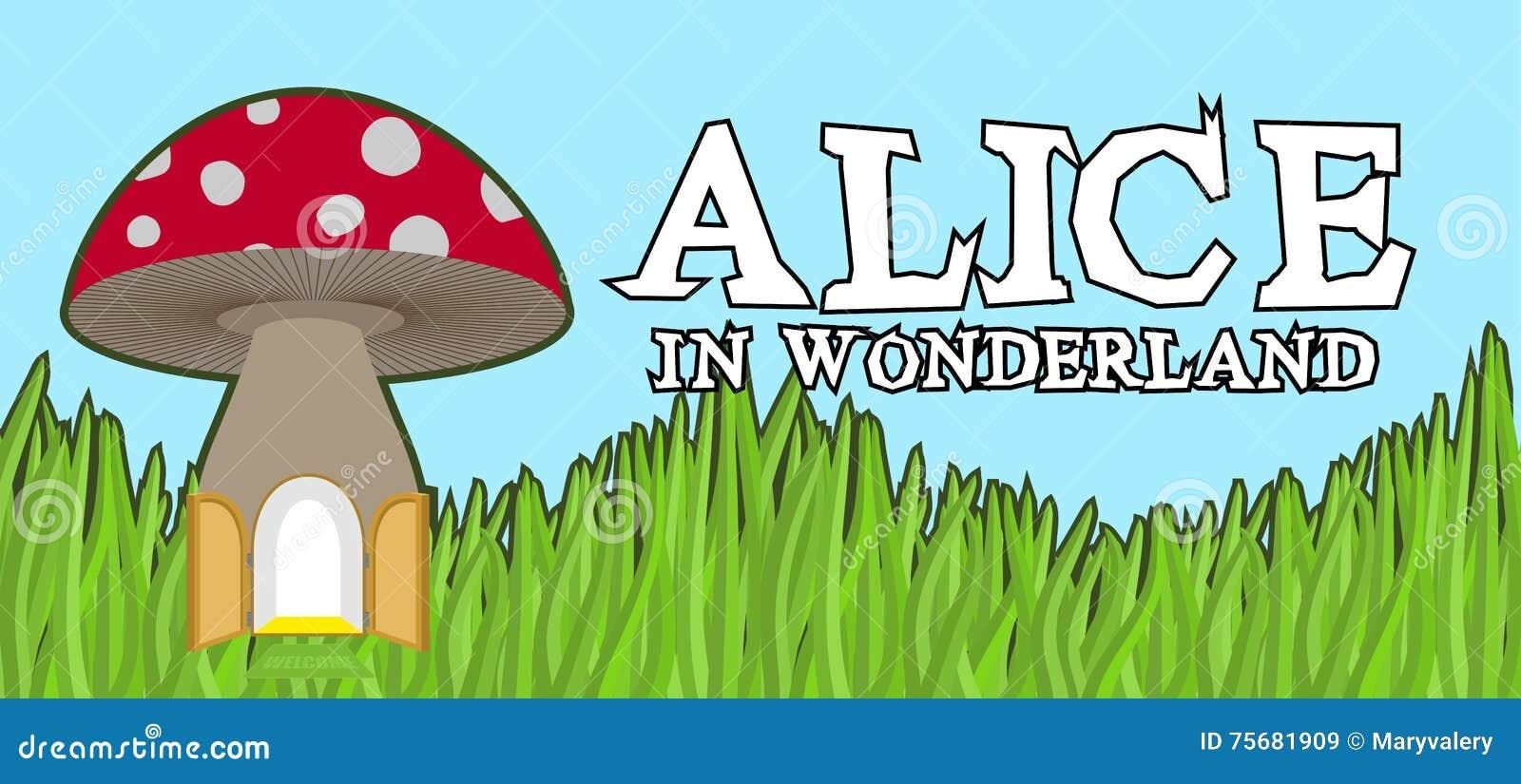 Alice w krainy cudów literowaniu na zielonej trawie i pieczarce Szalenie f