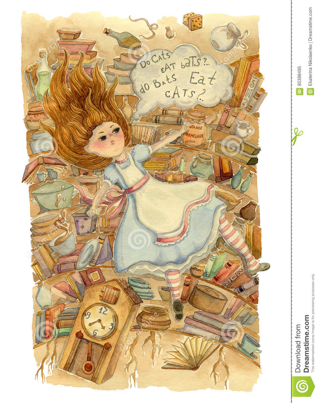 Alice in Wonderland. Alice is falling down into the rabbit hole.