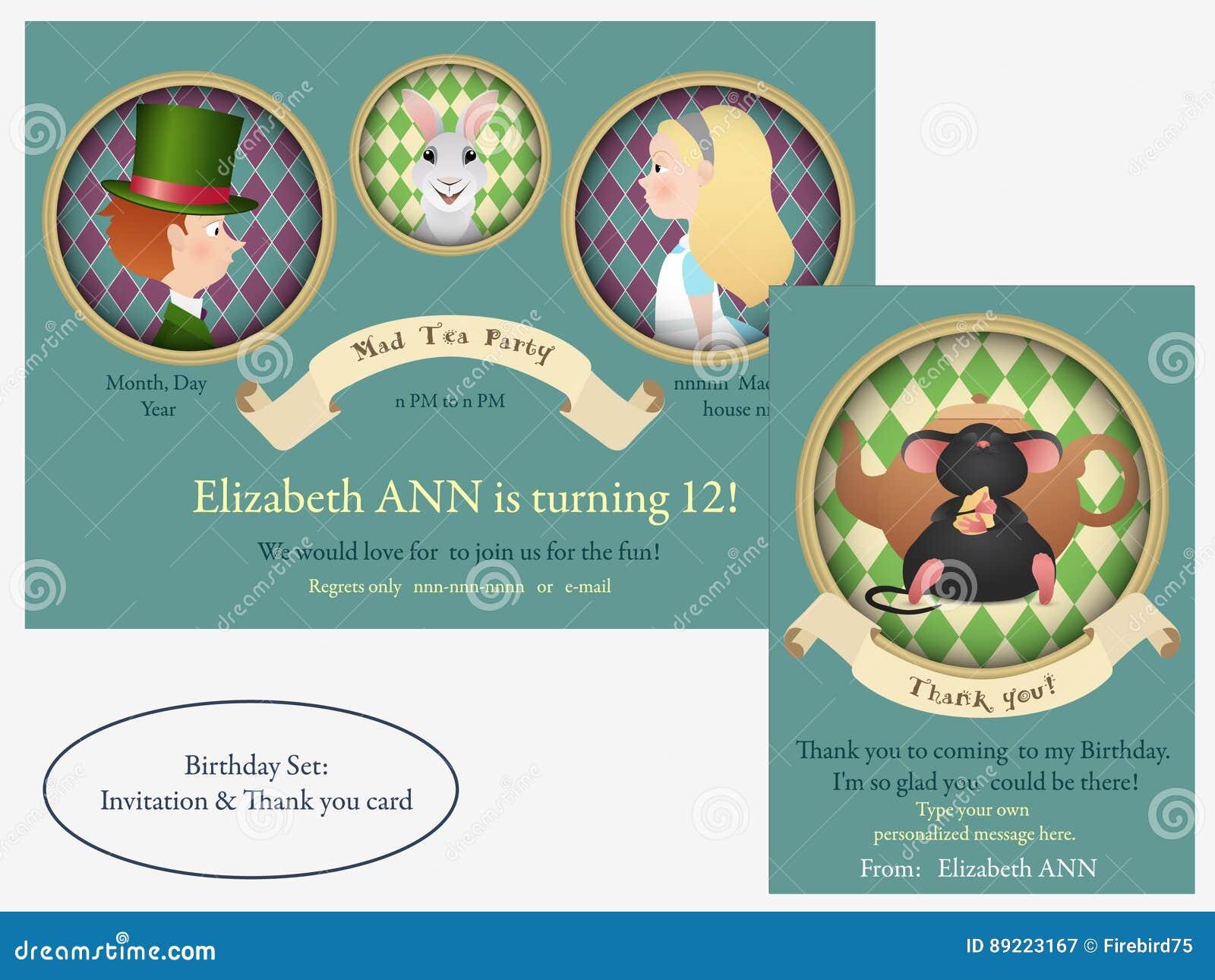 Alice In Wonderland Mad Tea Party Birthday Invitation Stock Vector