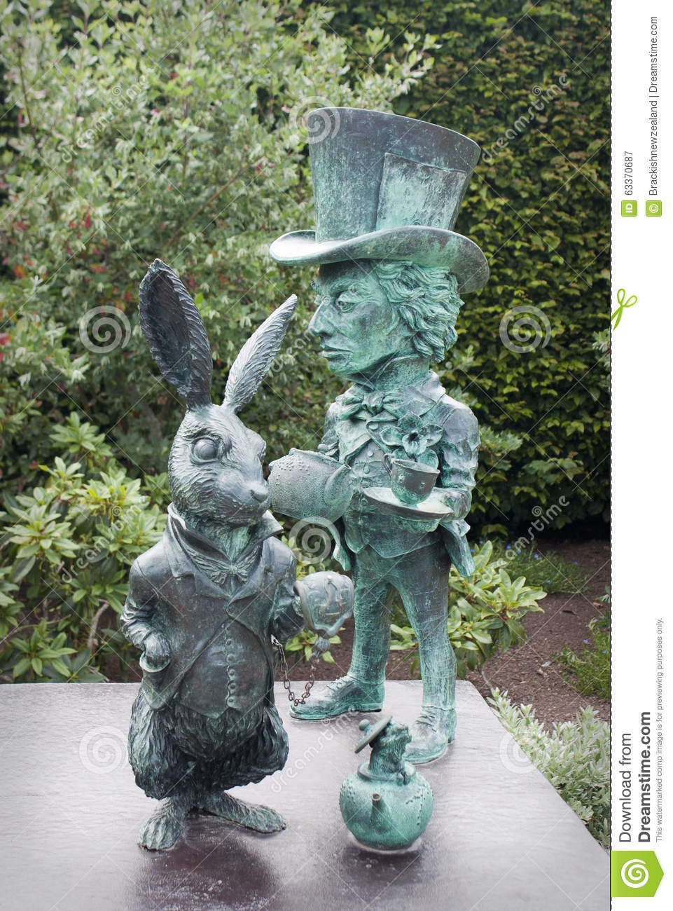 alice in wonderland statue stock image image of zealand