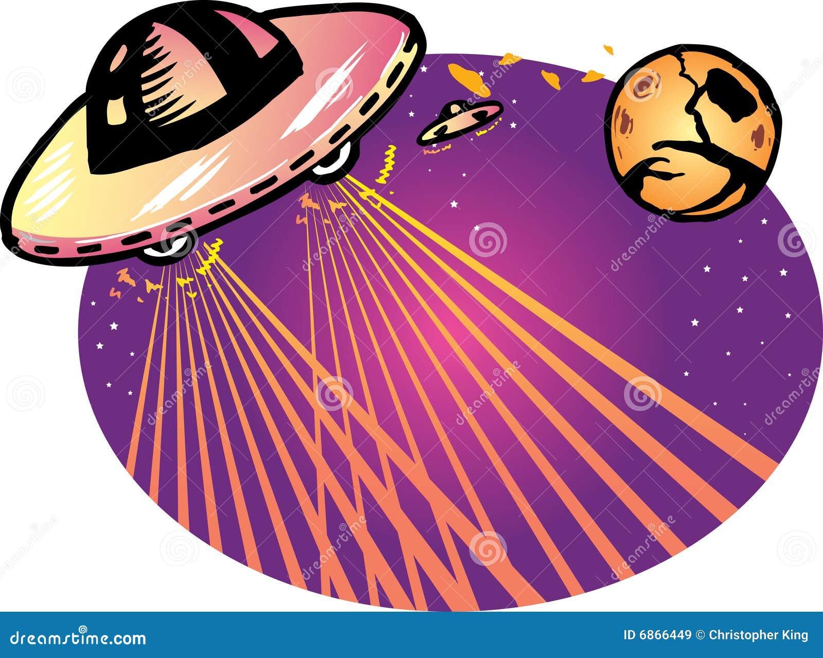 Alien вектор космического корабля иллюстрации предпосылки