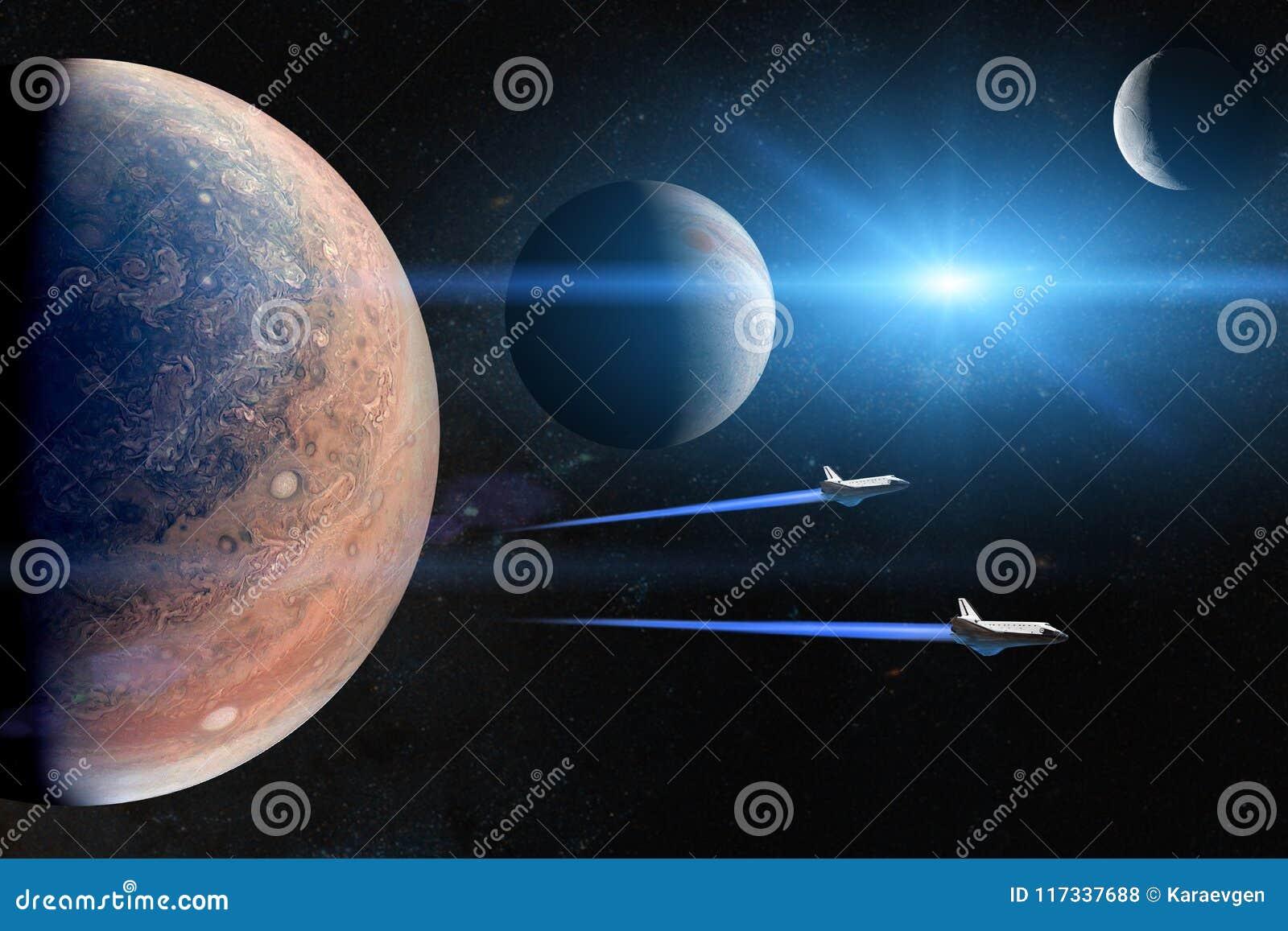 Alien планеты Космические летательные аппараты многоразового использования принимая на полет