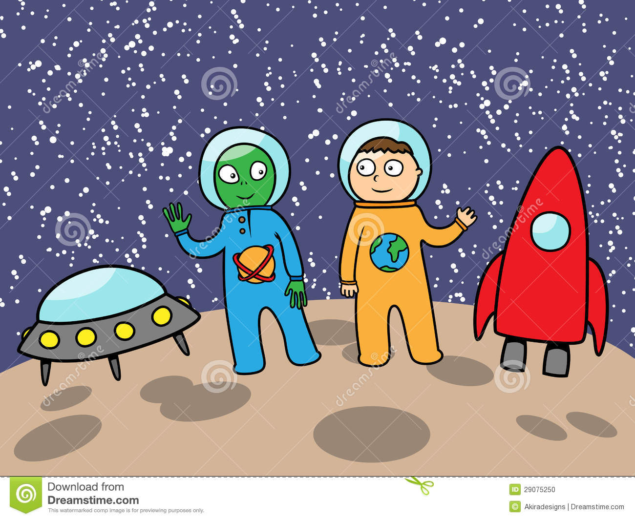 Cartoon vector illustration of cute alien and astronaut in space on