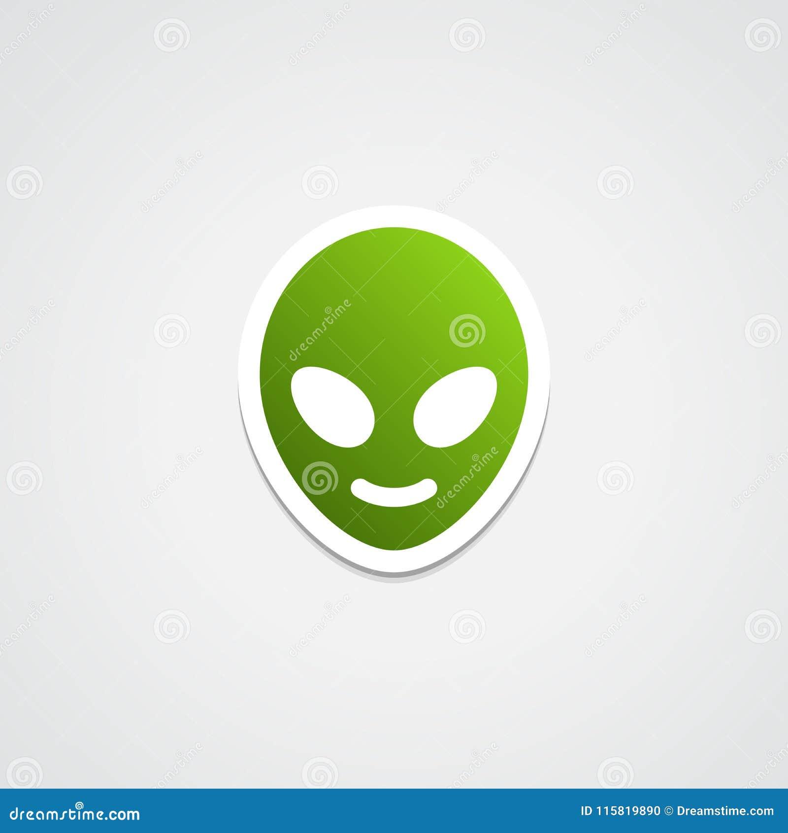 Alien Emoji Sticker Icon stock illustration  Illustration of