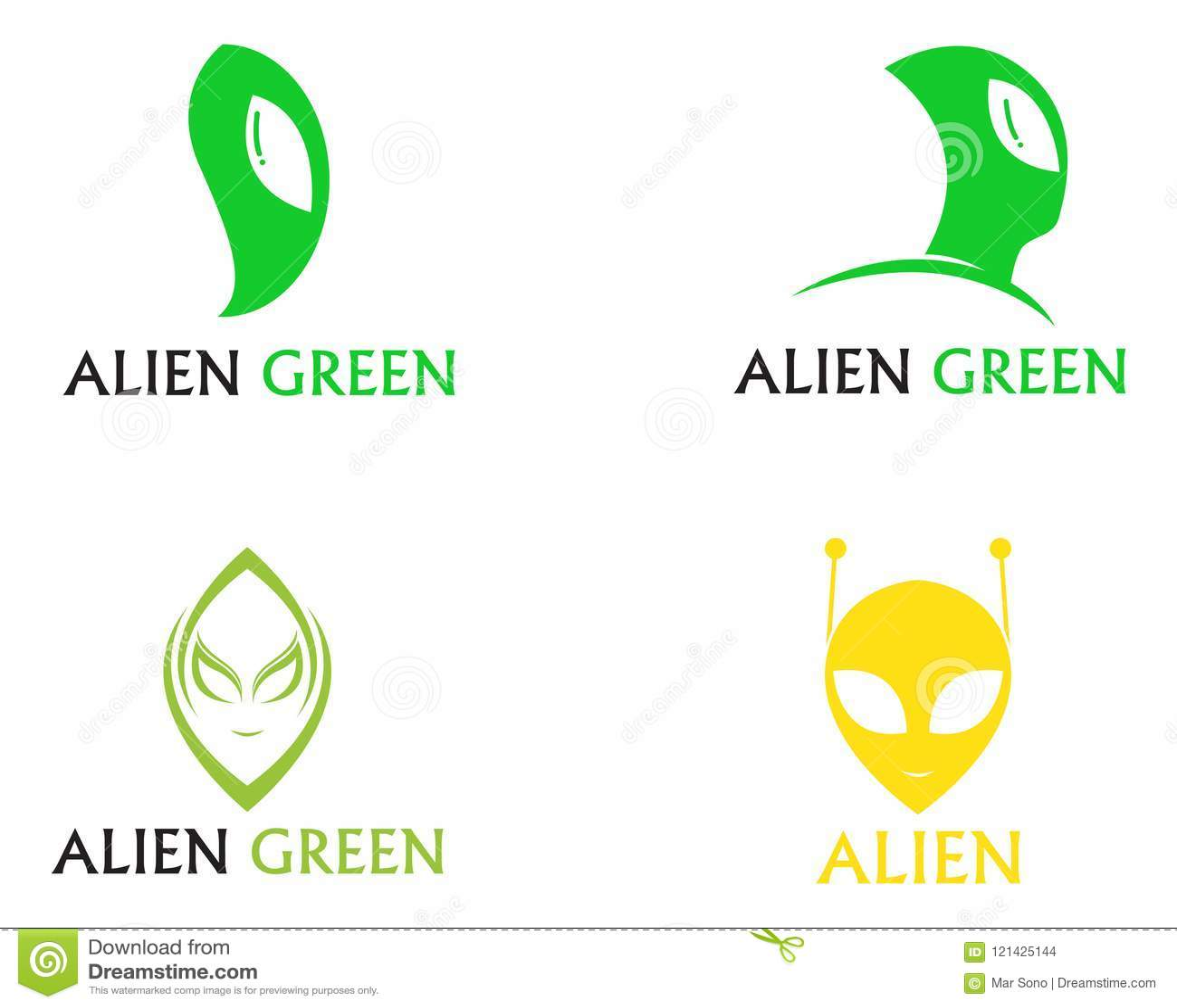 Alien face icon vector logo and symbols template app
