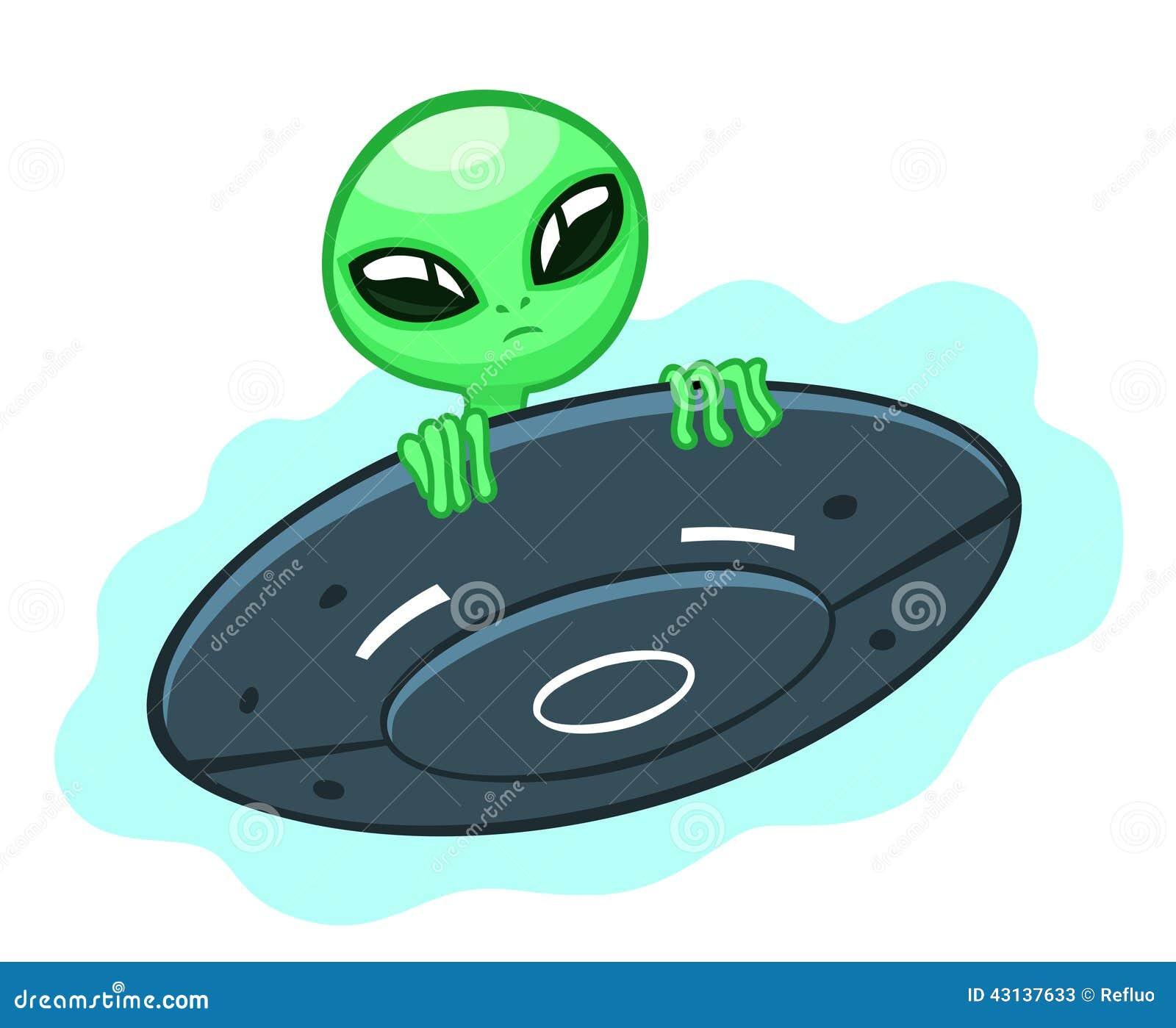 Alien In Flying Saucer Stock Vector - Image: 43137633