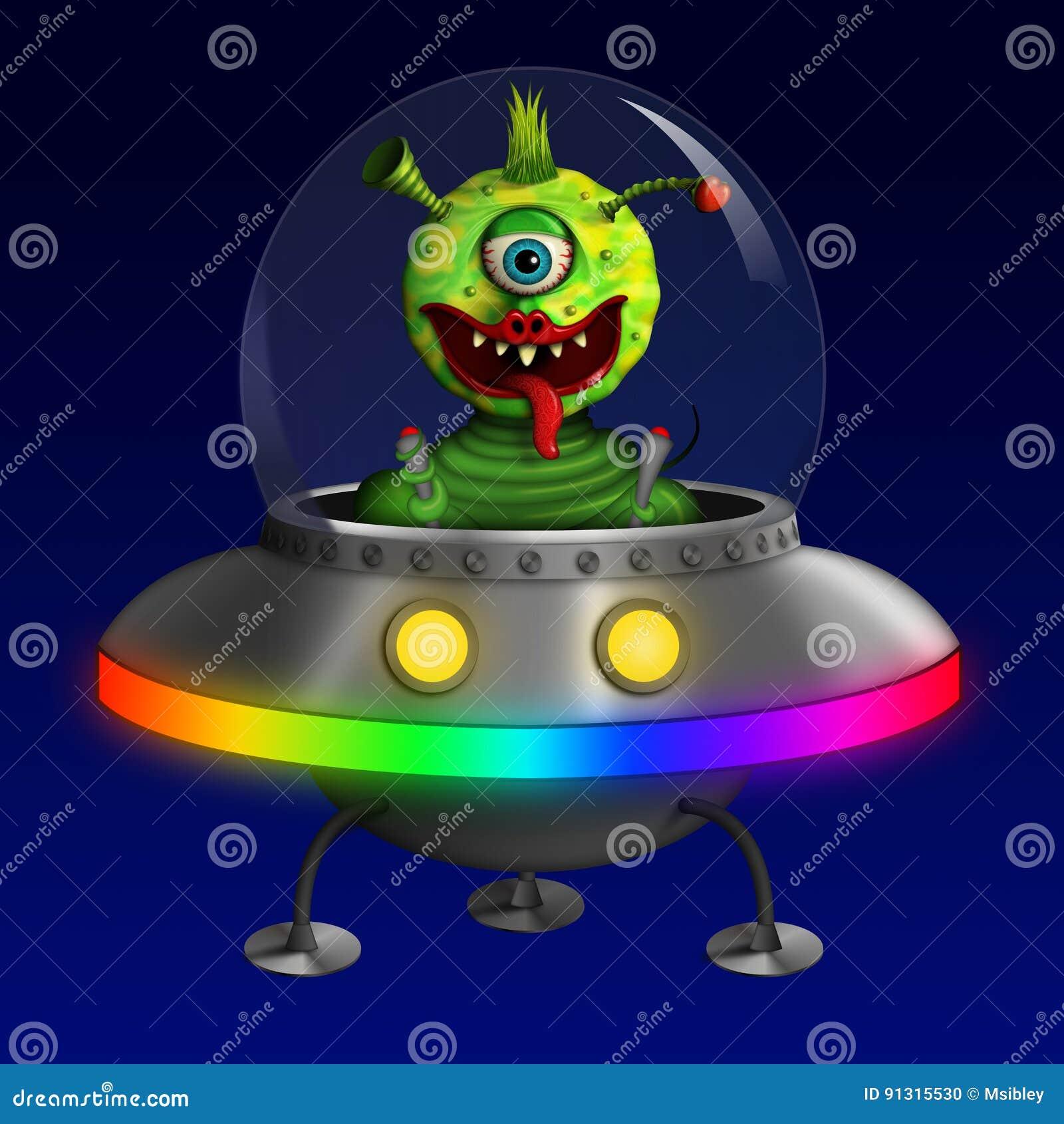 Alien in Flying Saucer UFO