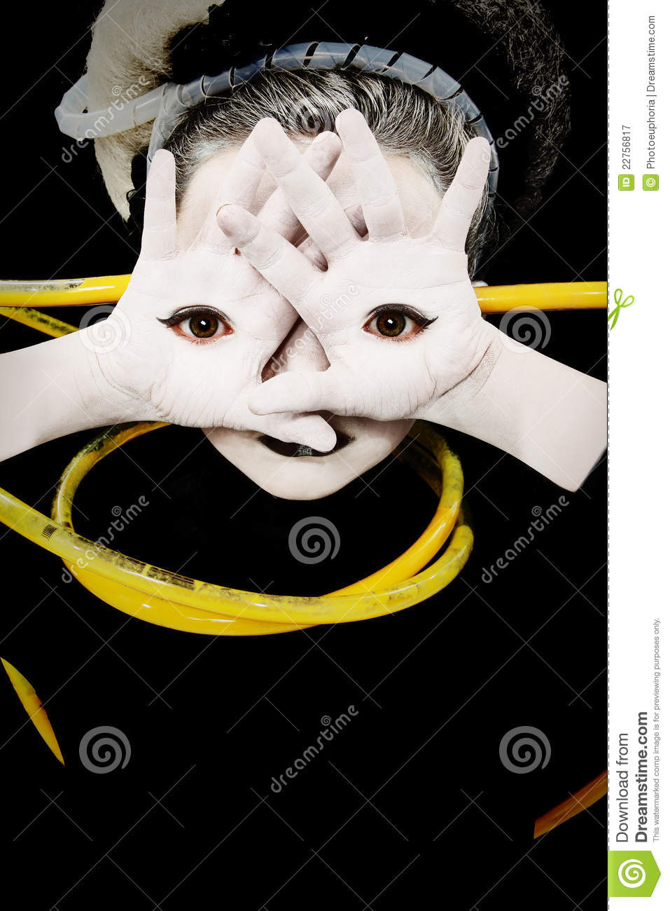 Alien Girl Child with Eyes on Palms of Hands