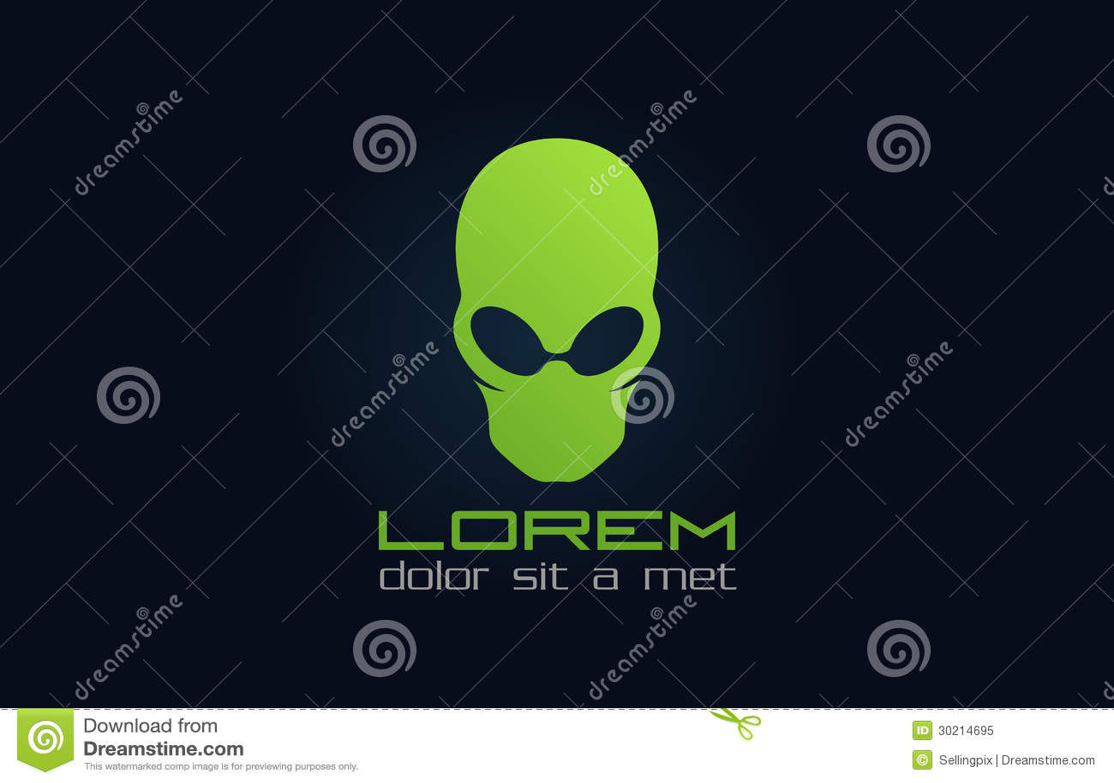 Royalty Free Stock Photo: Alien green logo. Abstract character ...