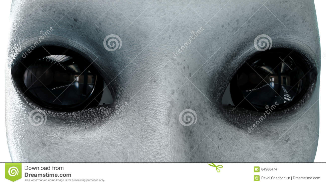 Alien head. close up. UFO concept. isolate. 3d rendering.