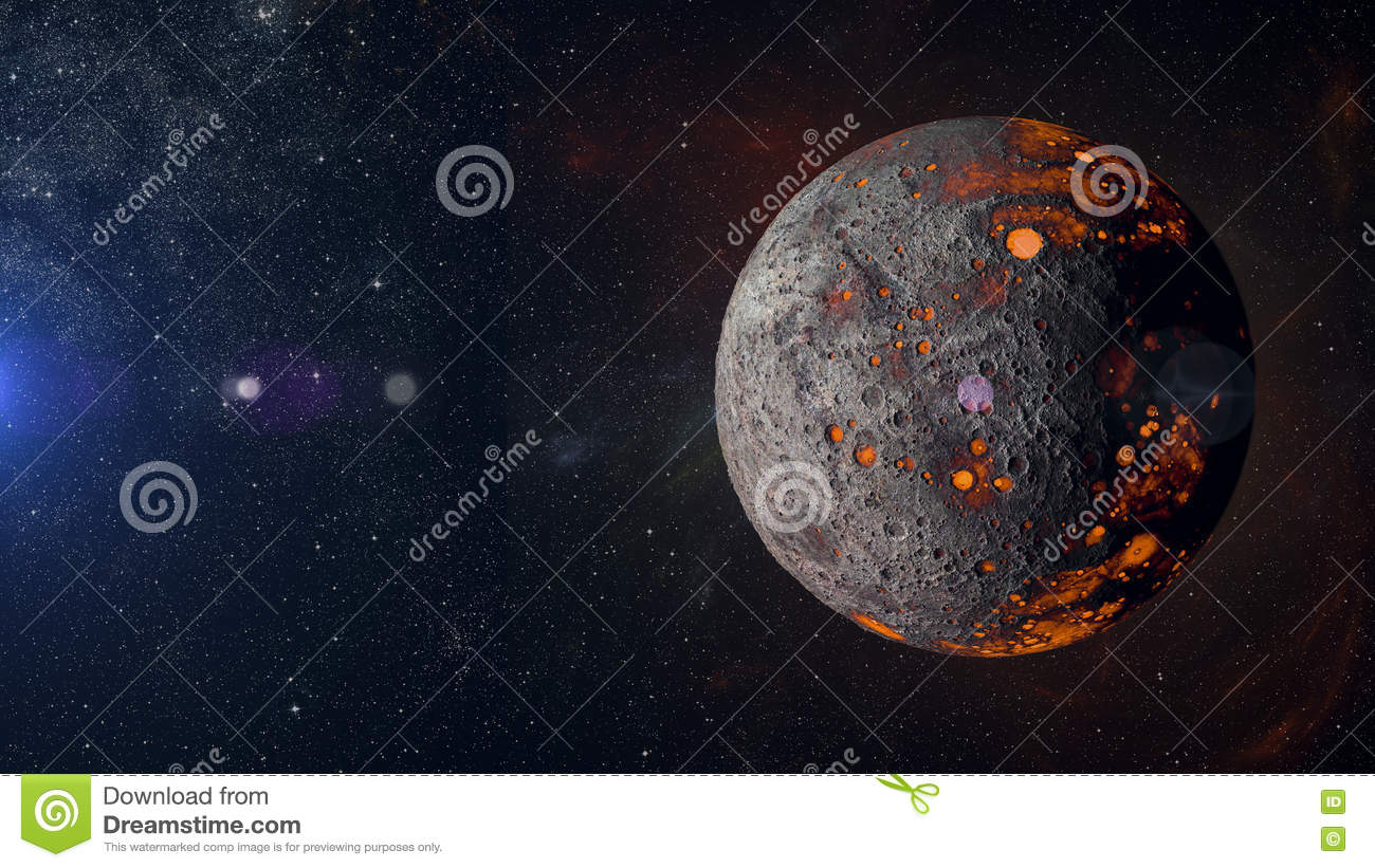Alien hot planet on nebula background 3d rendering.