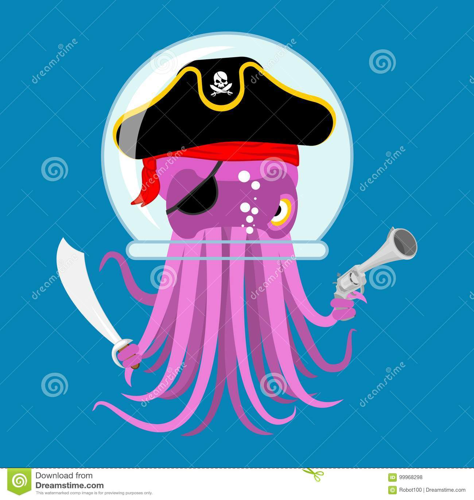 Alien Intruders Space Pirate Octopus. Cosmic Monster ...