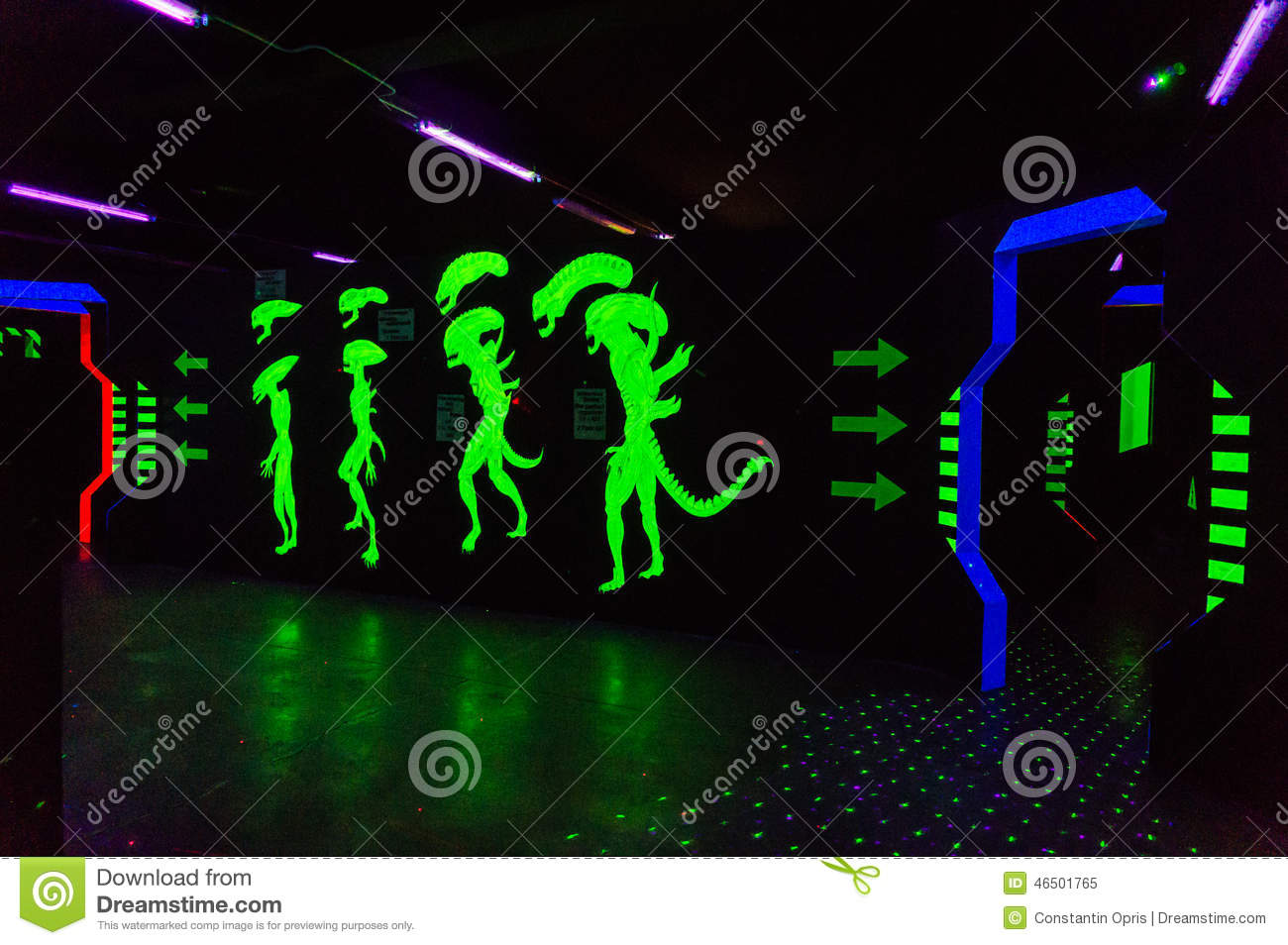 Laser tag arena decorated with alien characters.