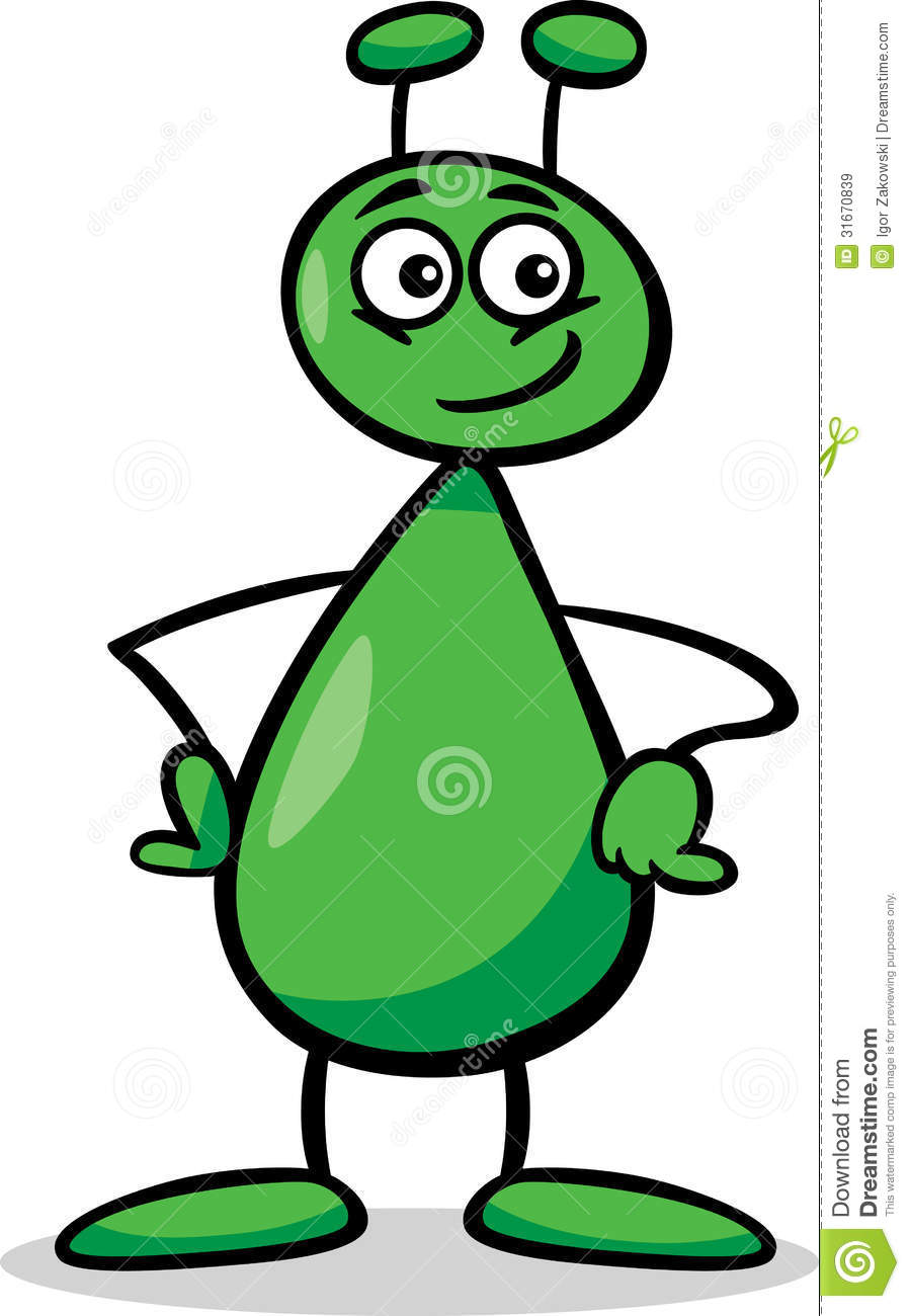 Alien Or Martian Cartoon Illustration Royalty Free Stock Images ...