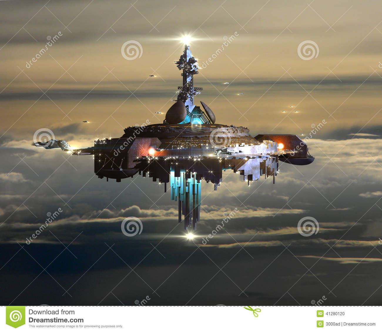 alien mothership above clouds on earth stock illustration