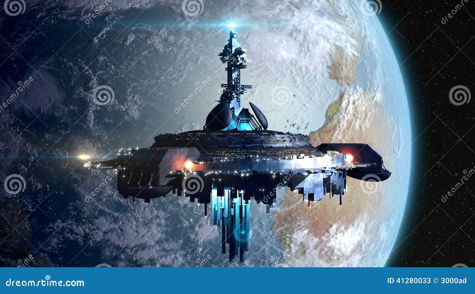 Alien Mothership Near Earth Stock Illustration Image