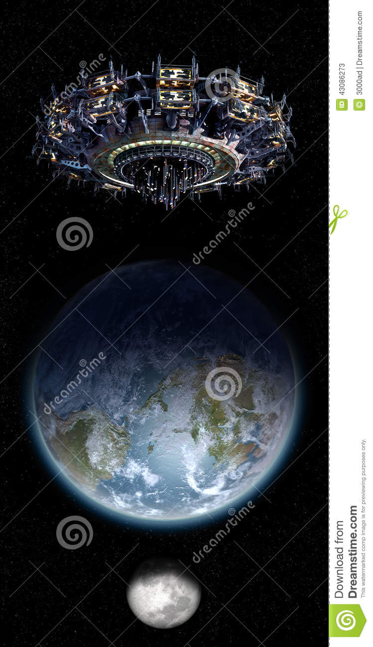 Alien Mothership UFO Nearing Earth With Copy Space ...
