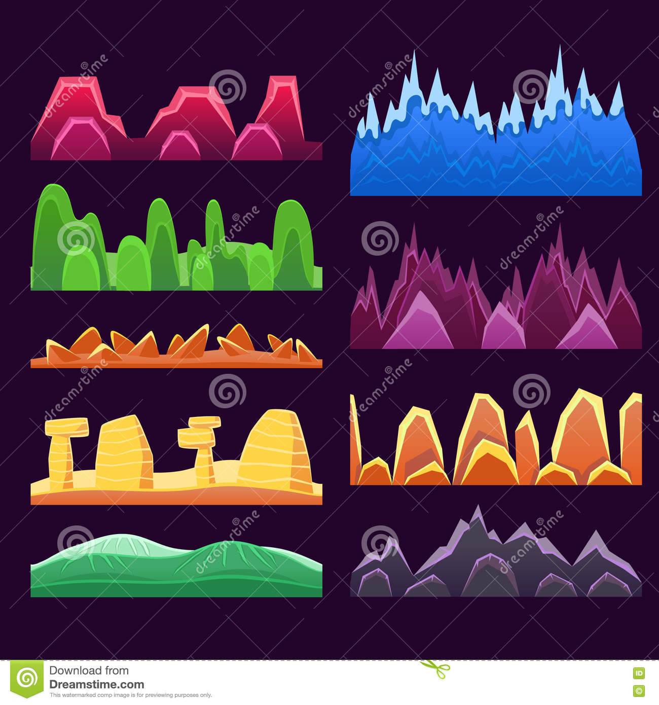 Alien Mountains And Colorful Desert Landscaping Seamless Background Patterns For 2D Platformer Game Design