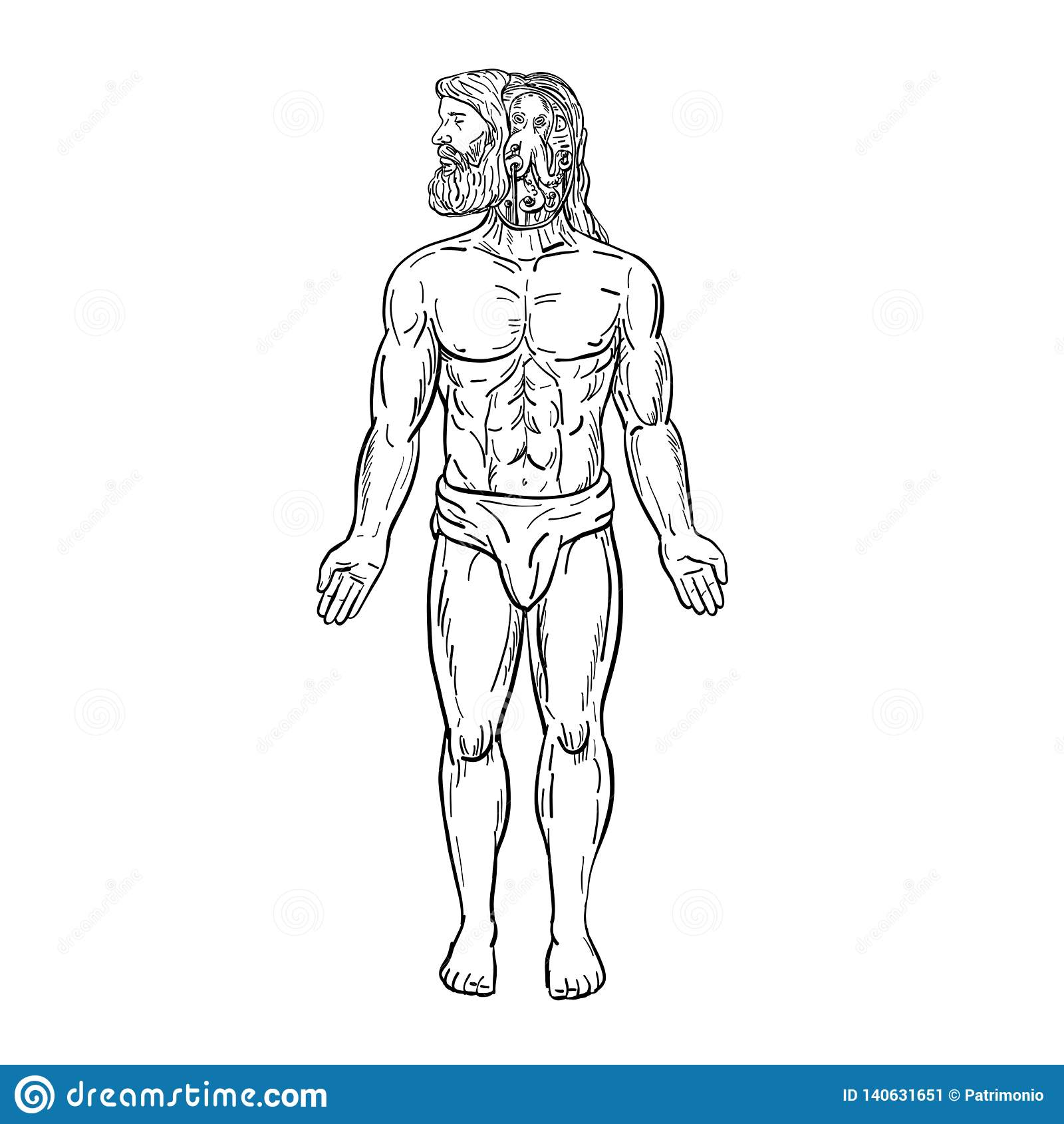 Drawing sketch style illustration of a male bearded human being with an alien like octopus inside his head manipulating his body in disguise viewed from