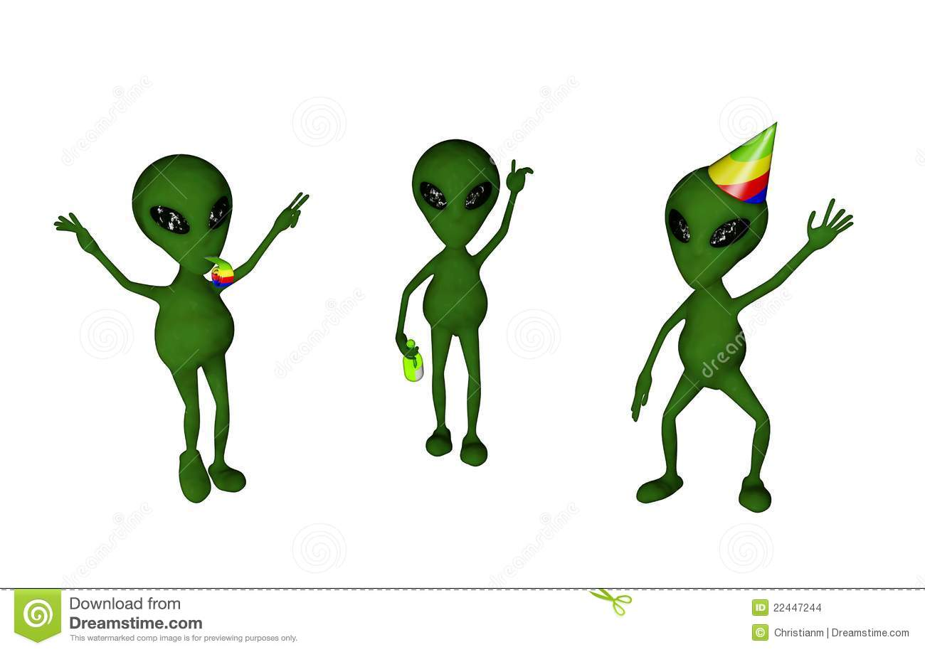 Three alien characters dancing and having fun. Isolated on white ...