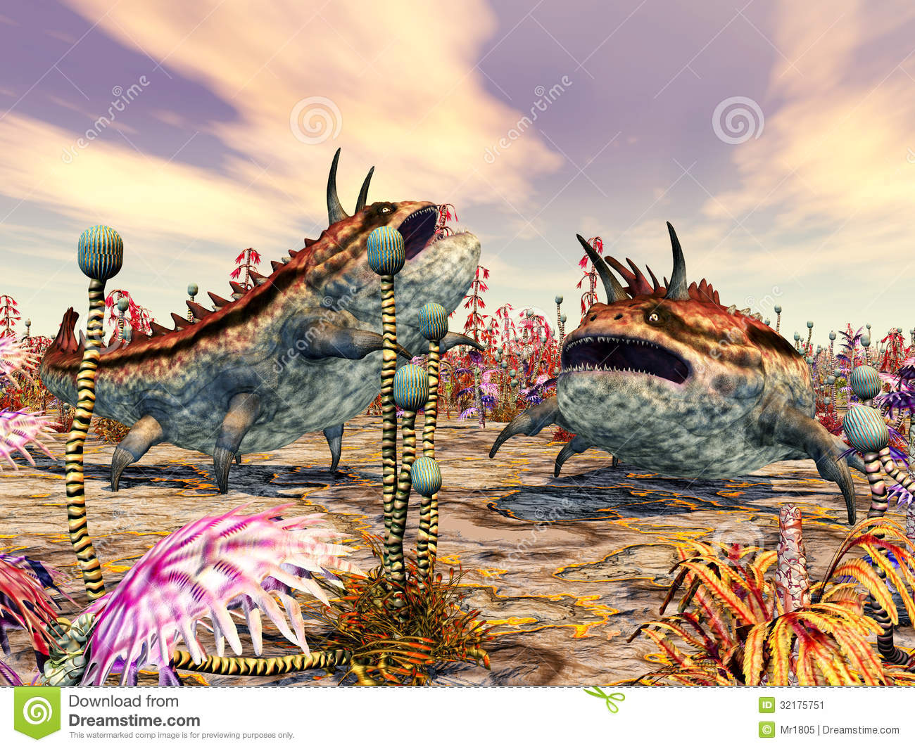 Computer generated 3D illustration with fantasy creatures on another ...
