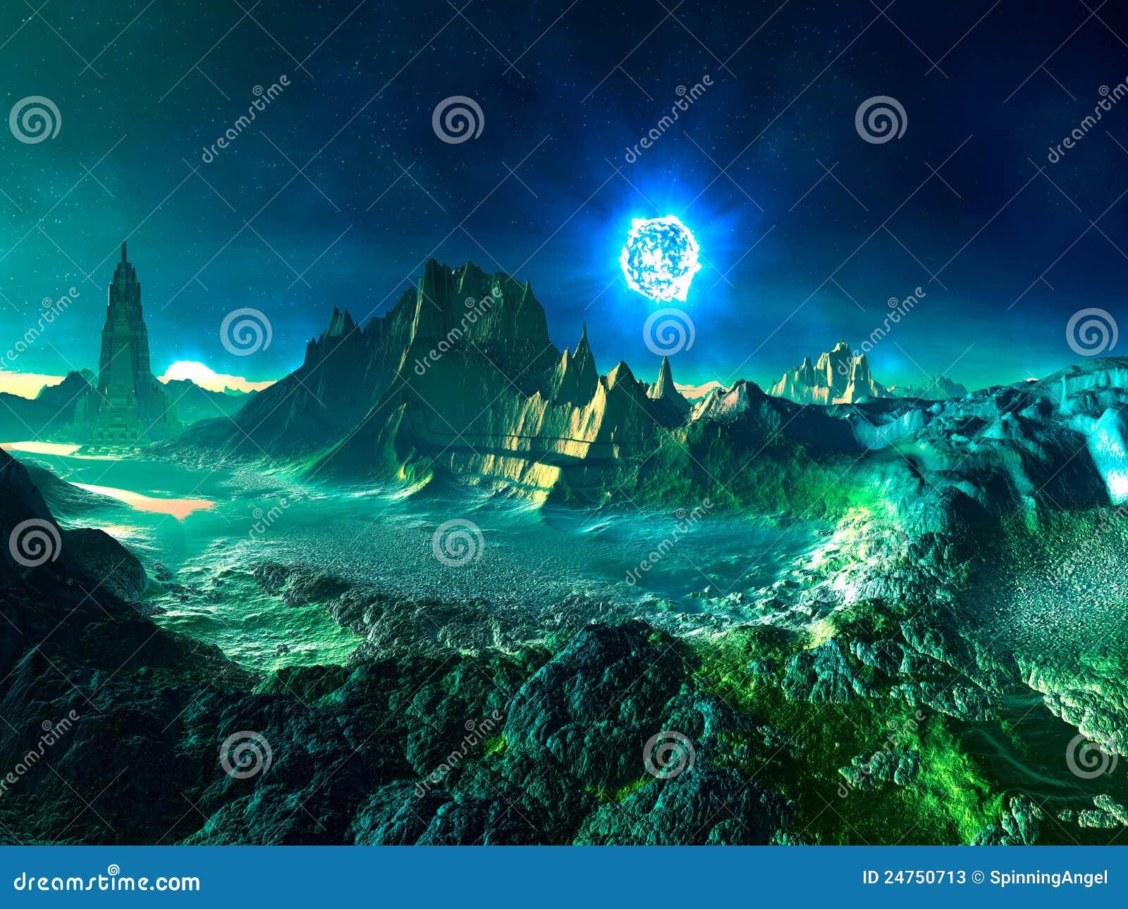Alien Planet With Neutron Star Stock Photos - Image: 24750713
