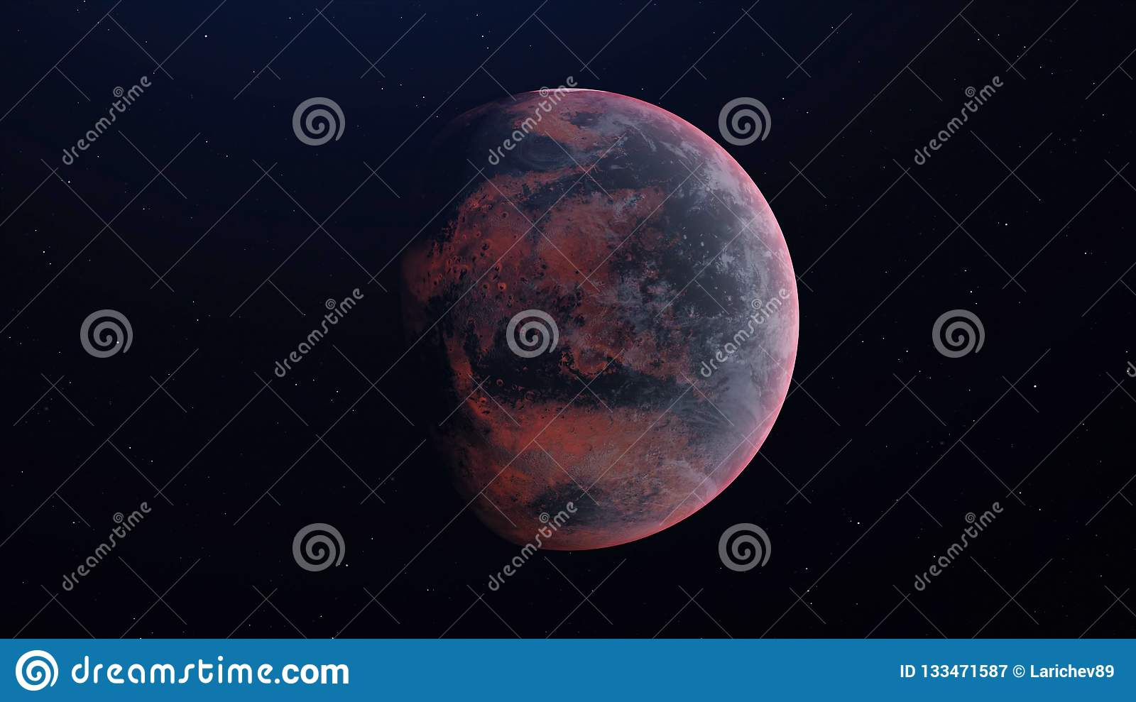 Alien Planet in the outer space - 3D Rendered