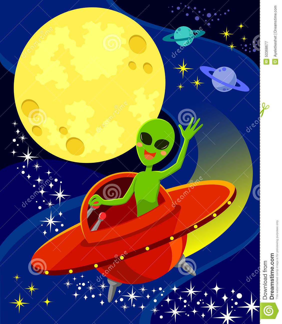 Alien in space stock vector image of alien fantasy for Flying spaces