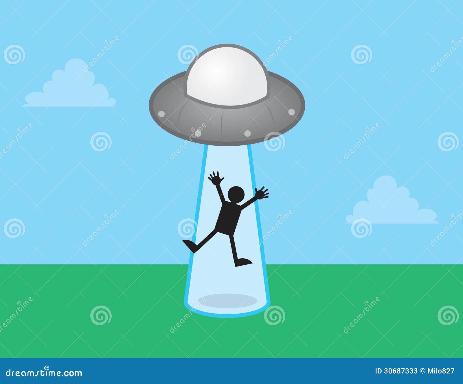 Alien Spaceship Beamed Figure  Ufo Beaming Up Person